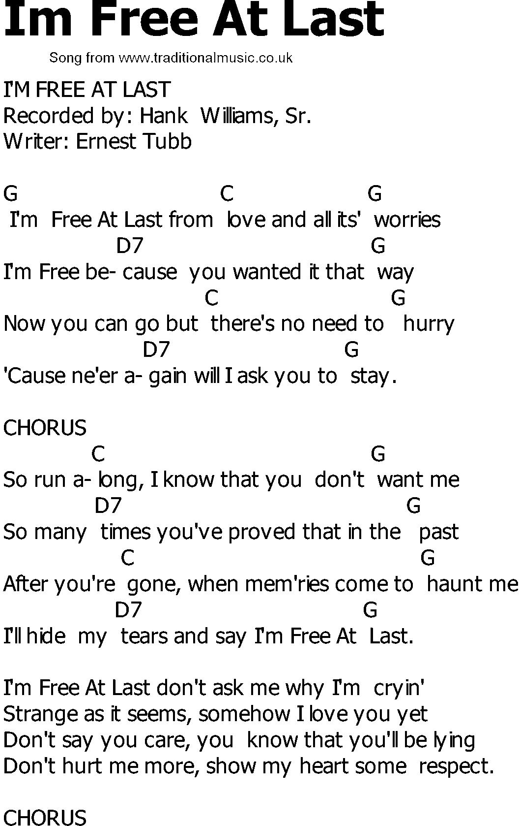 Old Country Song Lyrics With Chords Im Free At Last