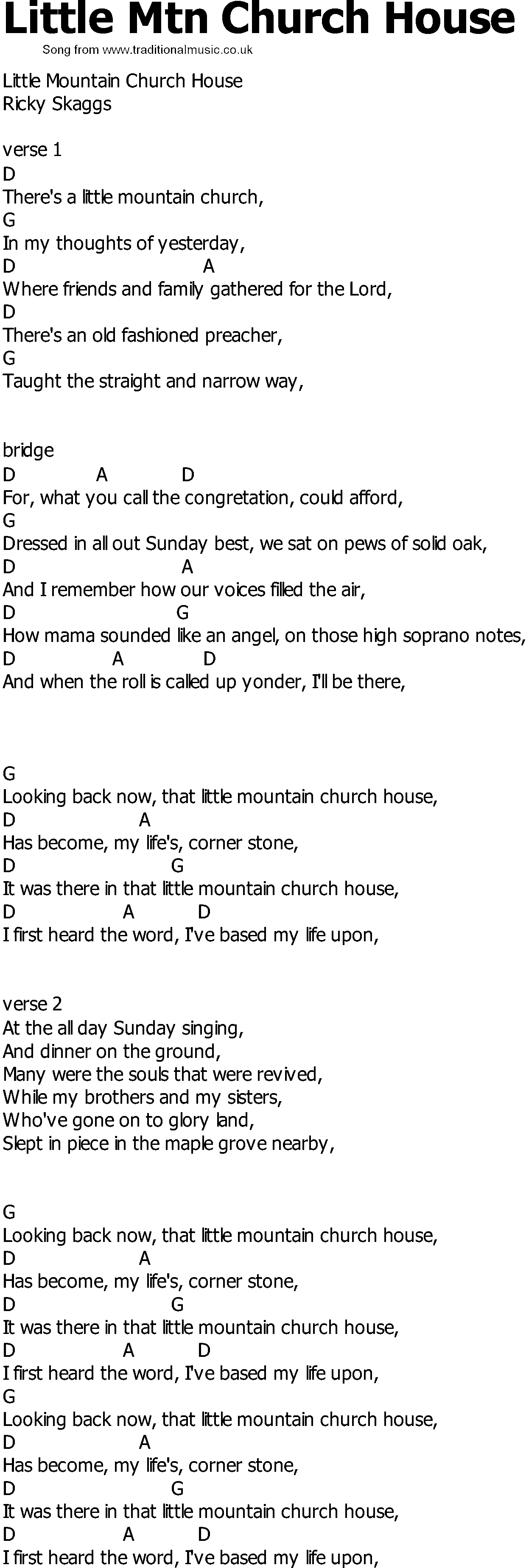 Old country song lyrics with chords little mtn church house for Classic house chords