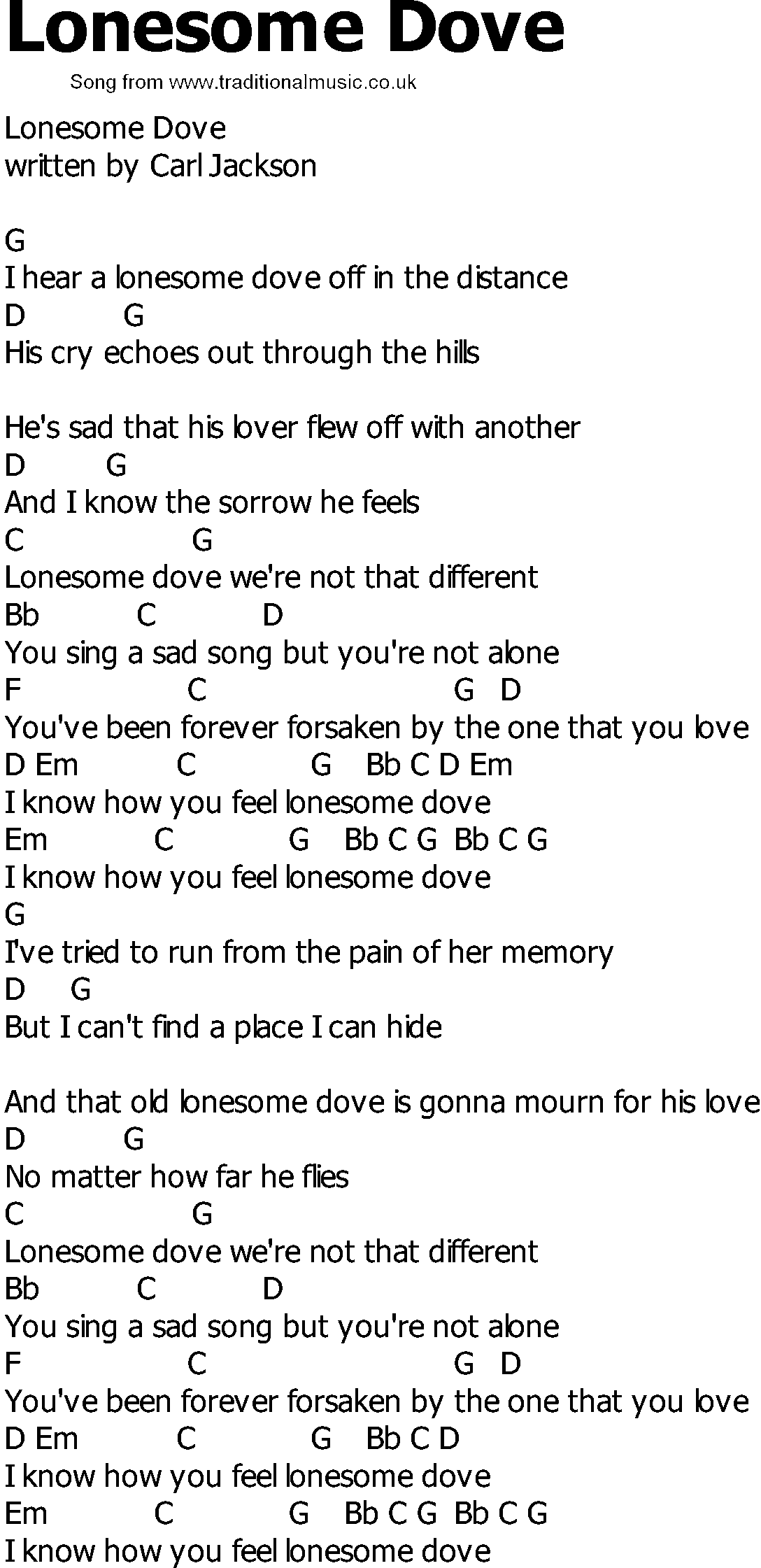 Country song lyrics with chords lonesome dove old country song lyrics with chords lonesome dove hexwebz Images