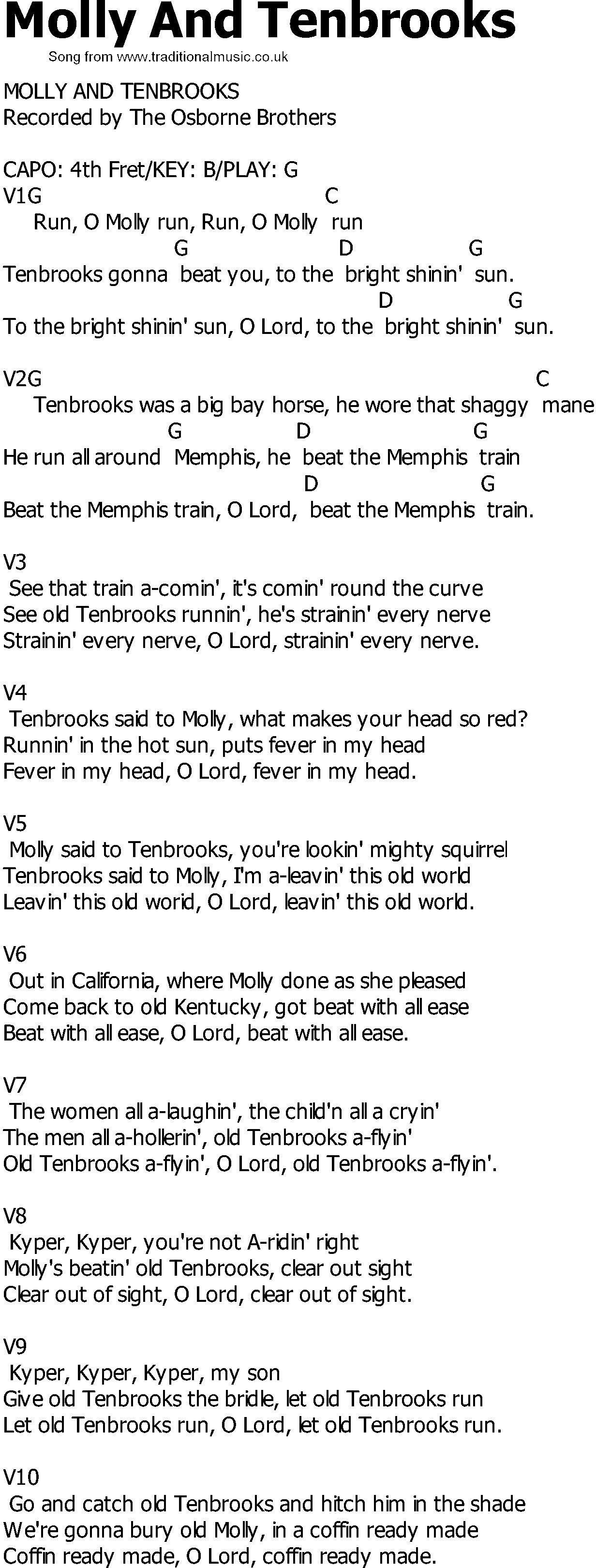 Bill Monroe - Molly And Tenbrooks Lyrics | MetroLyrics
