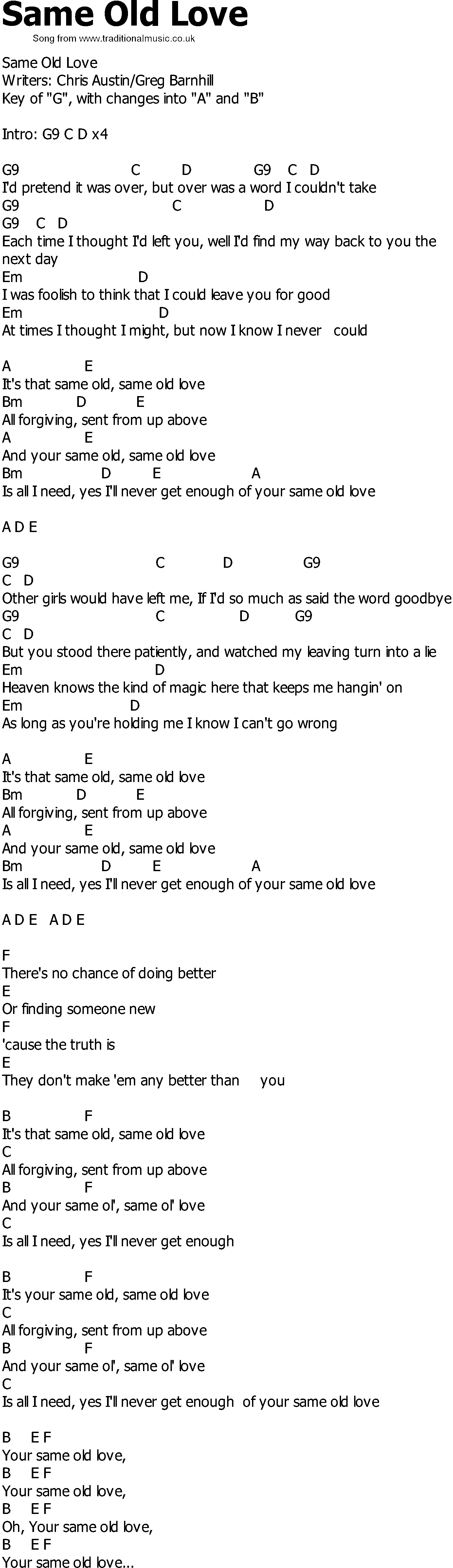 Old Country song lyrics with chords   Same Old Love