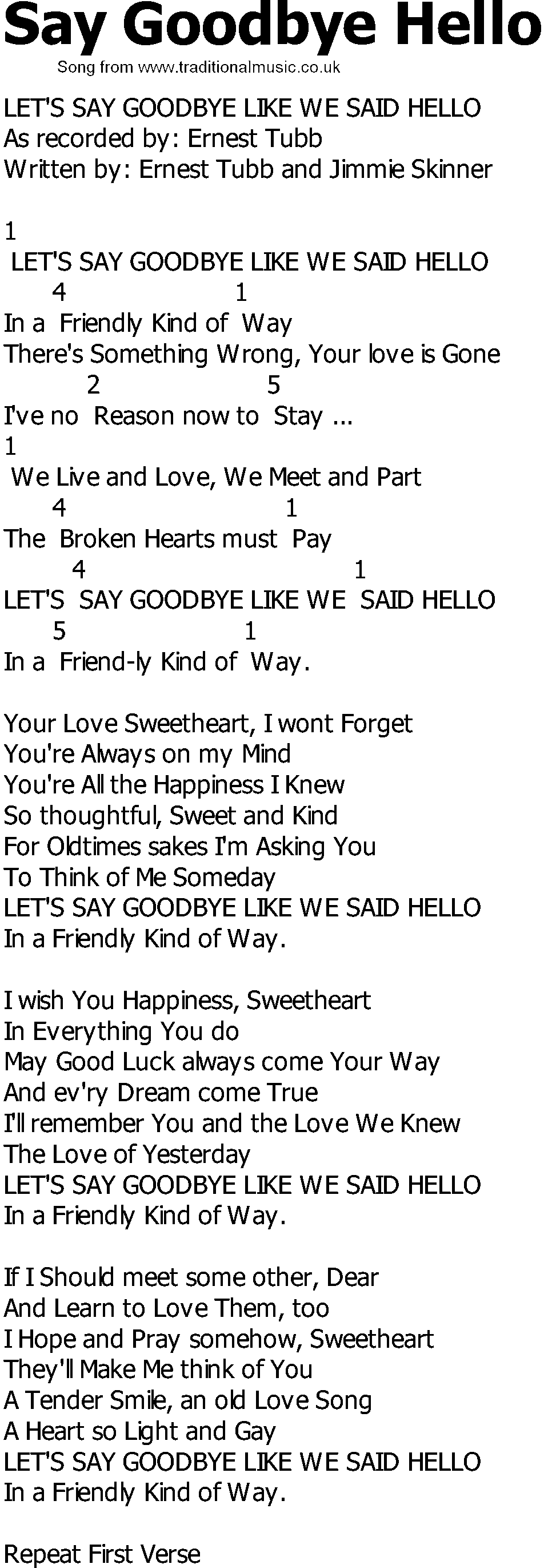 Lyrics containing the term: Hello, Goodbye