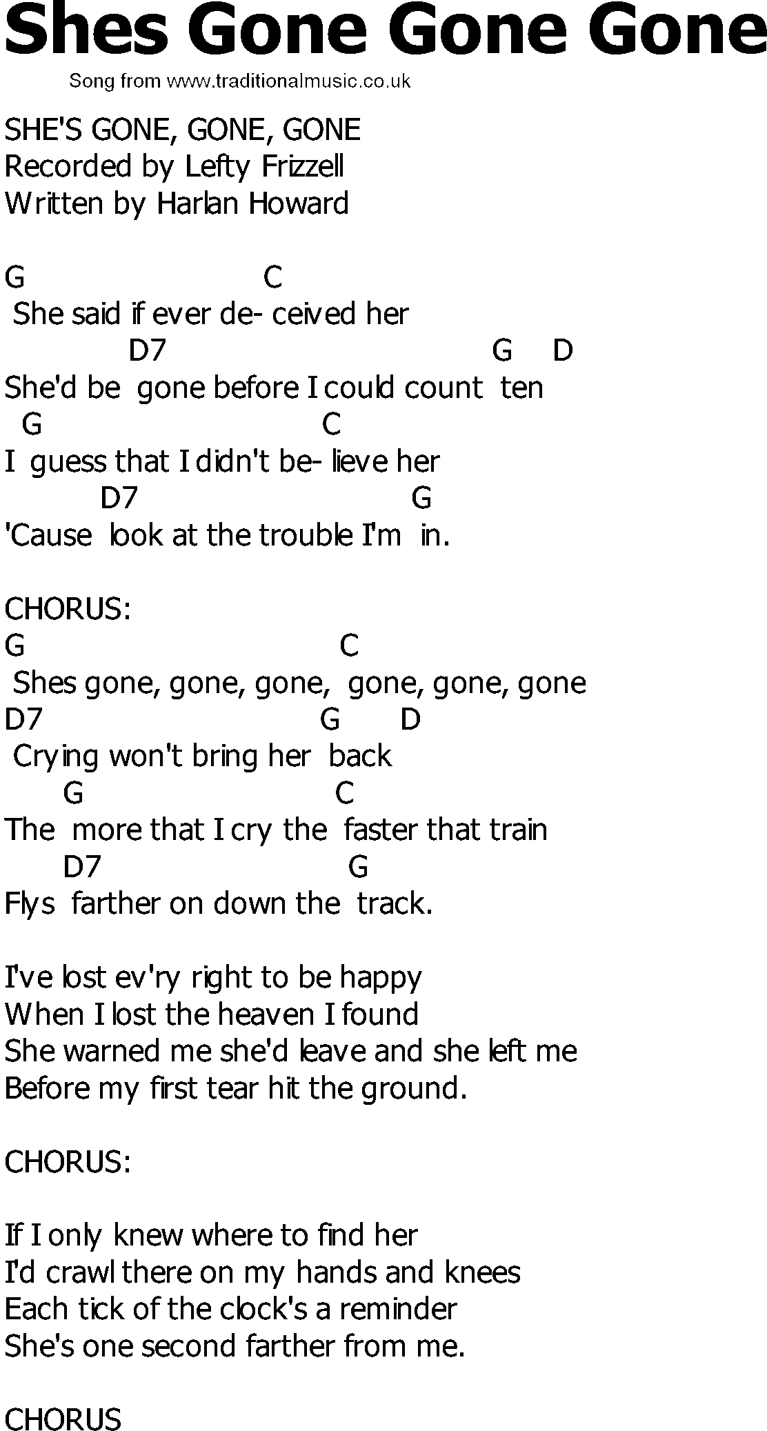 Songs with gone in the lyrics