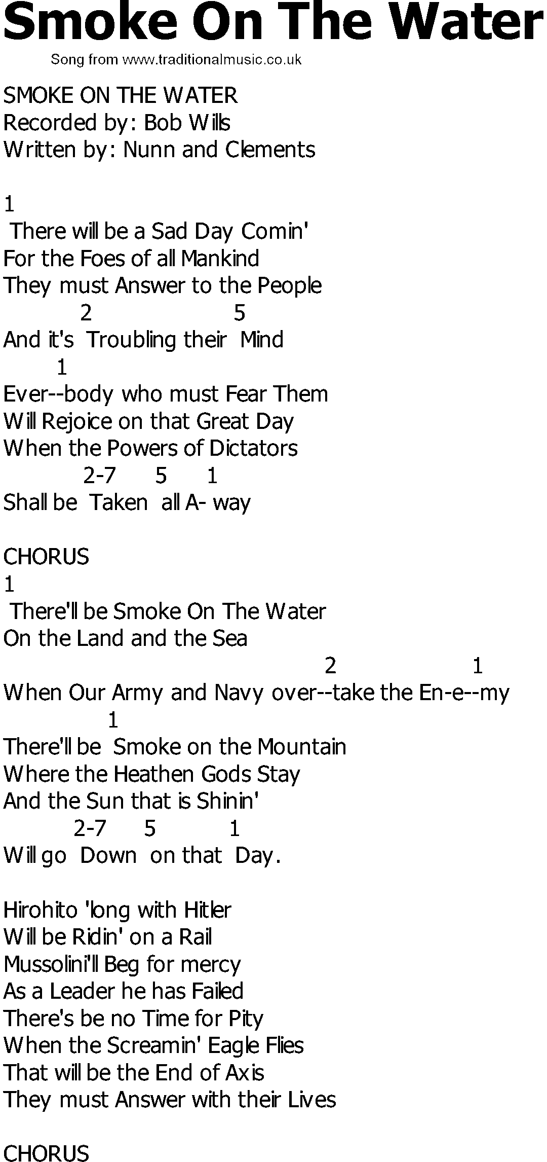 Old Country Song Lyrics With Chords Smoke On The Water