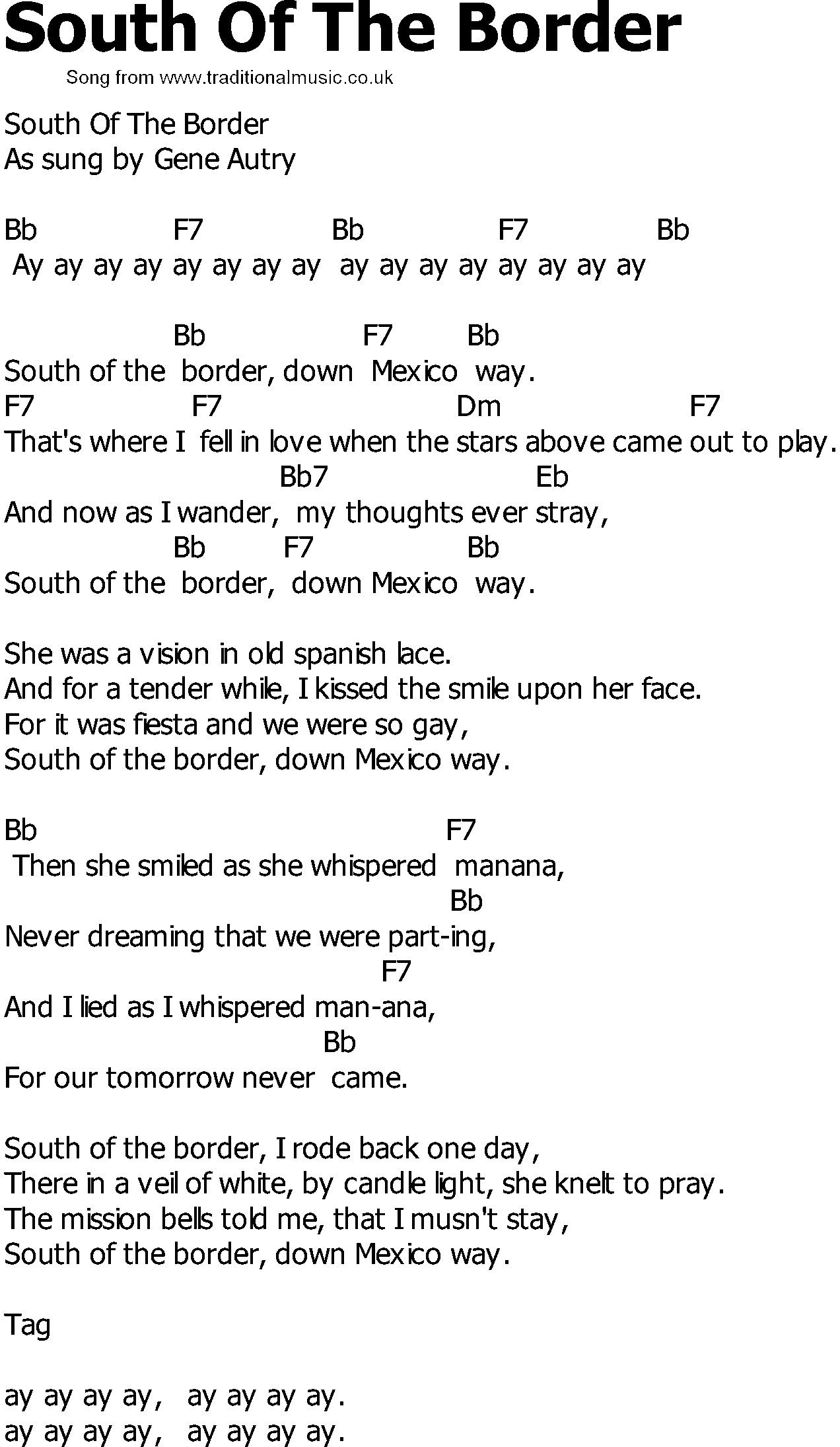 With A Smile Lyrics And Chords South Border