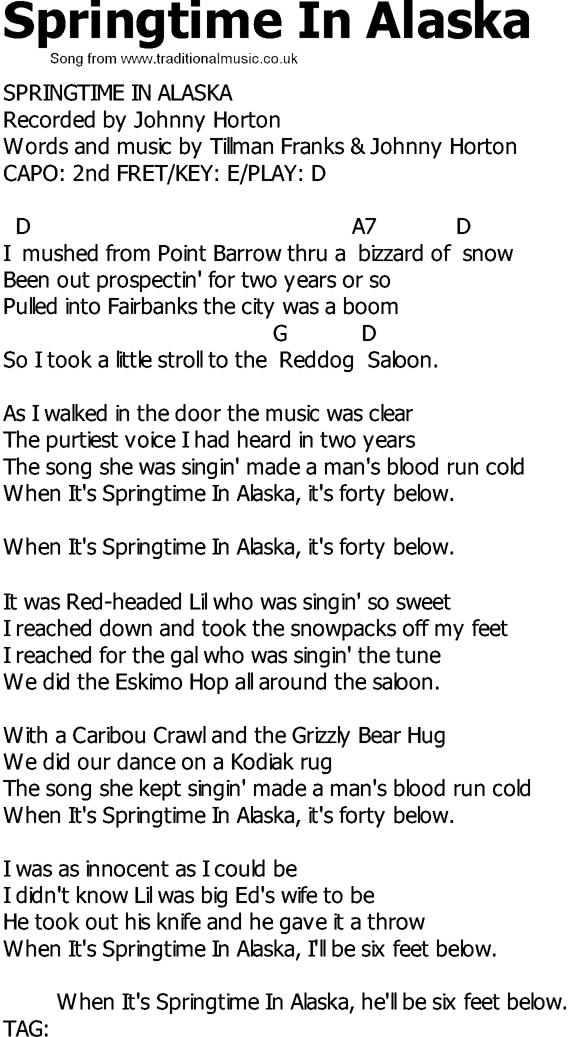 Old Country song lyrics with chords - Springtime In Alaska