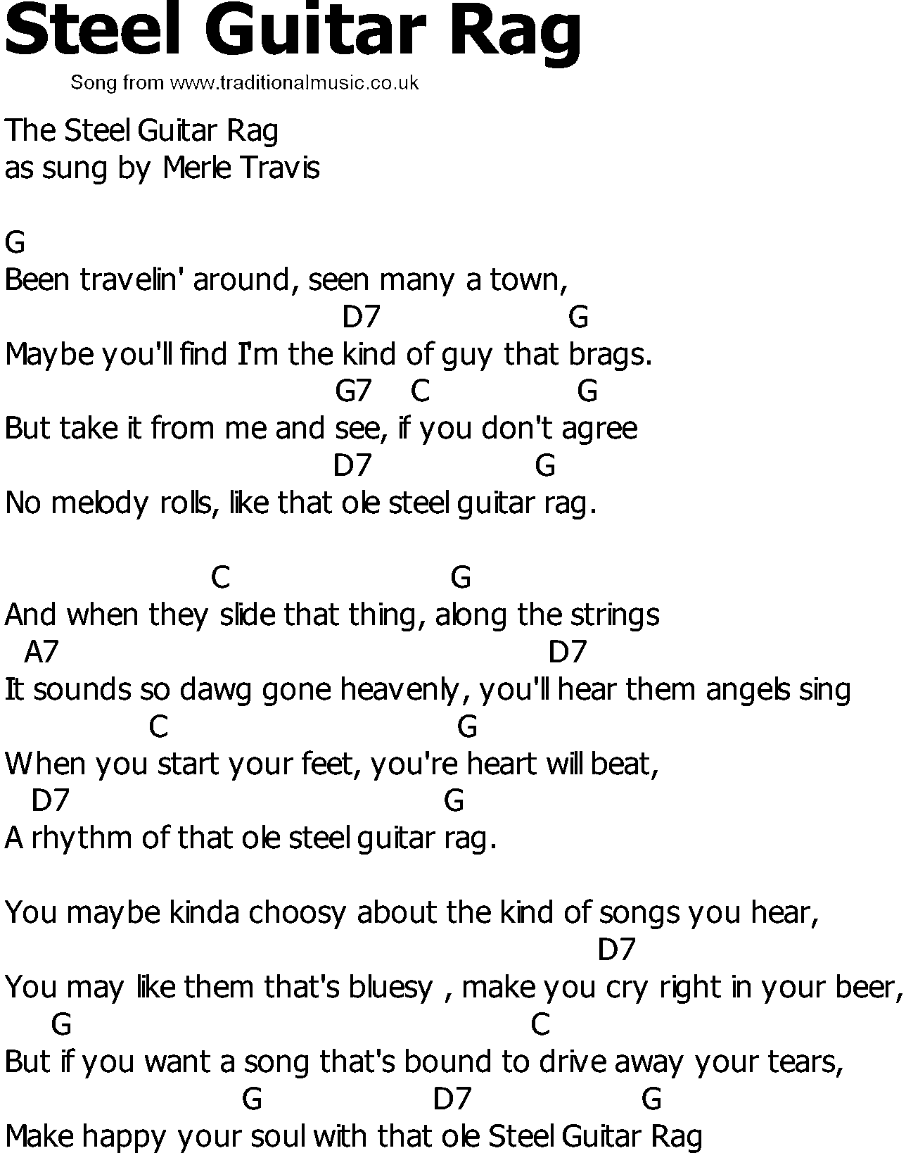 Old Country song lyrics with chords - Steel Guitar Rag