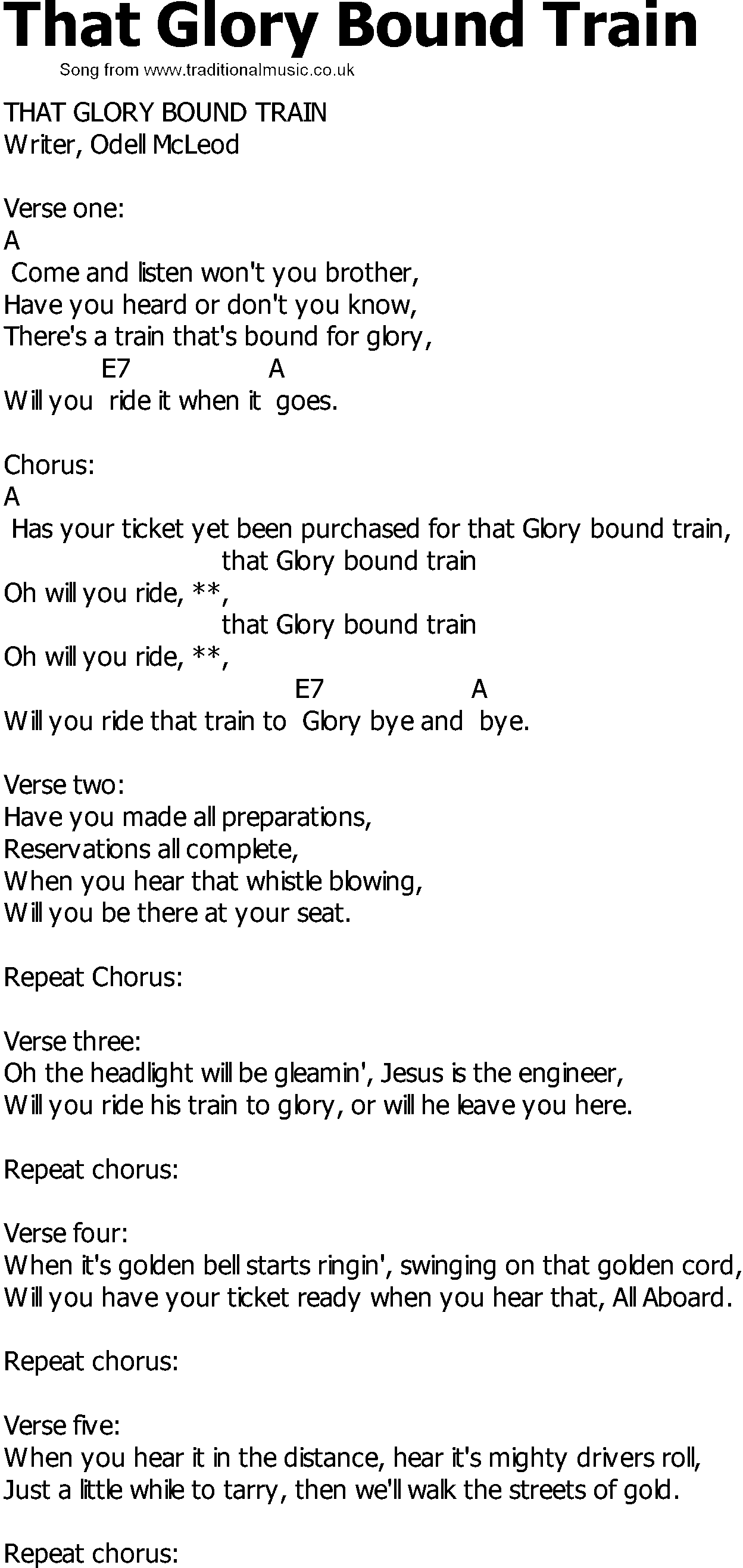 Old Country Song Lyrics With Chords That Glory Bound Train