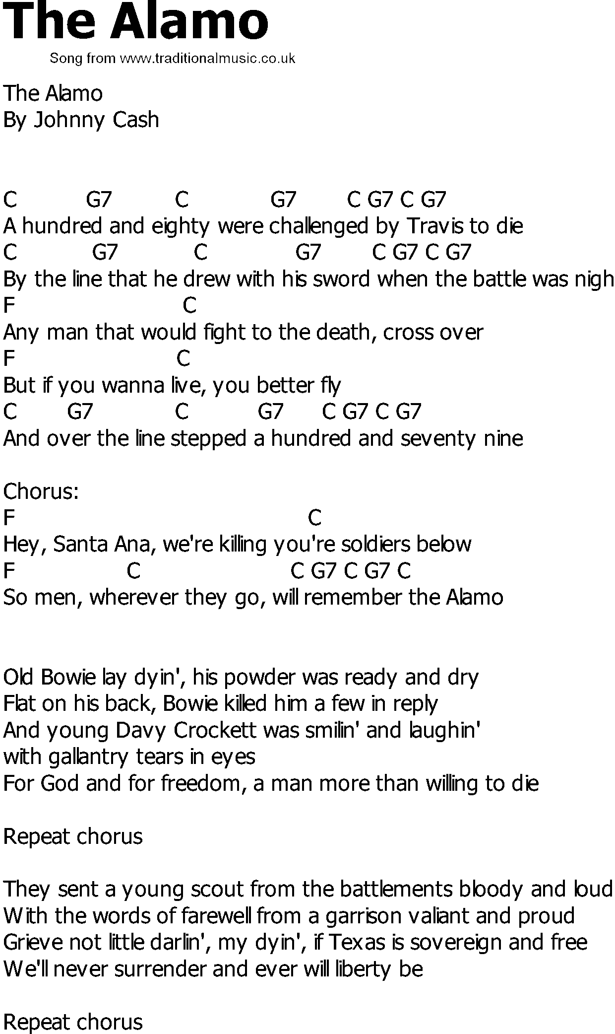 Old Country Song Lyrics With Chords The Alamo