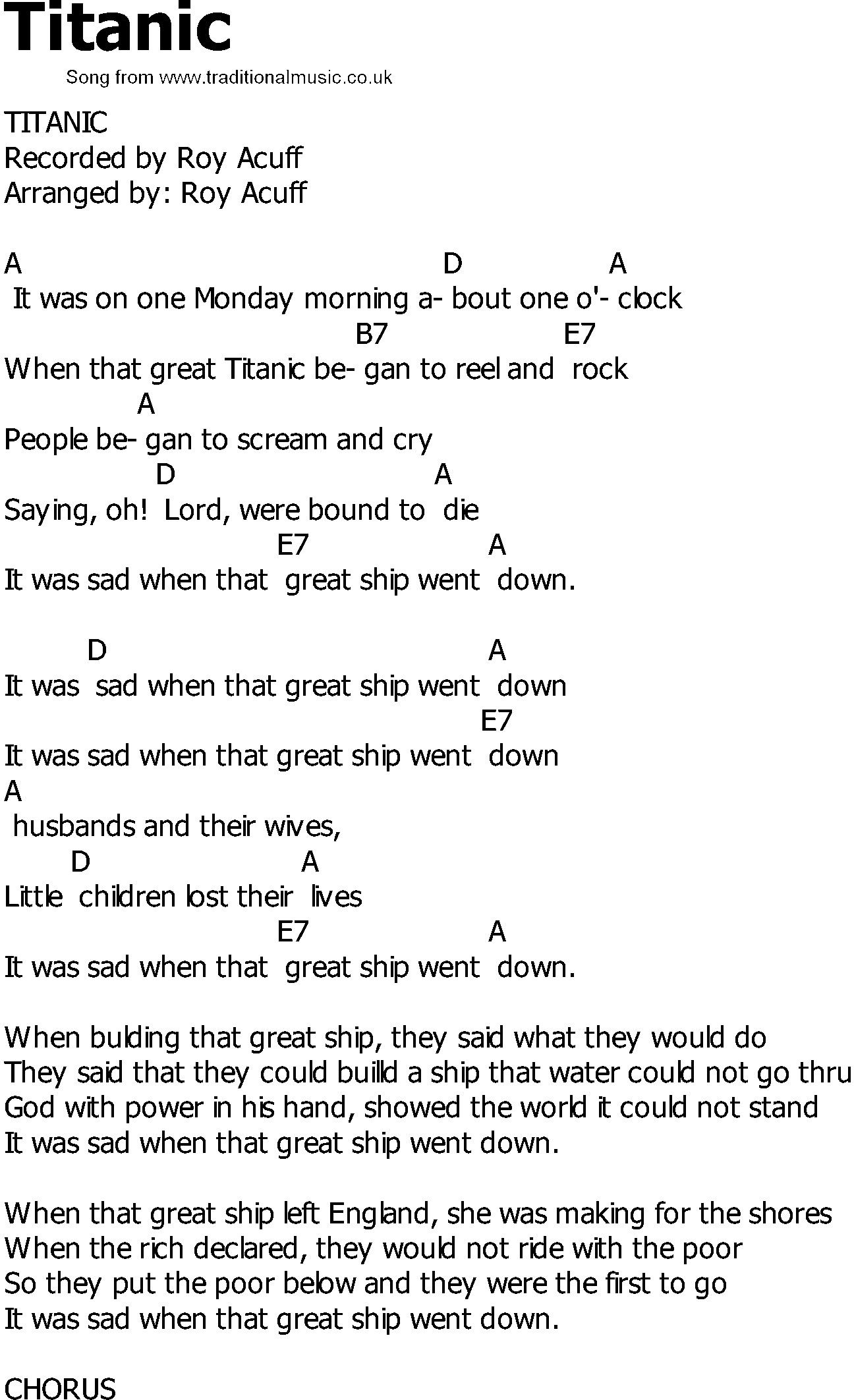 Old Country song lyrics with chords - Titanic
