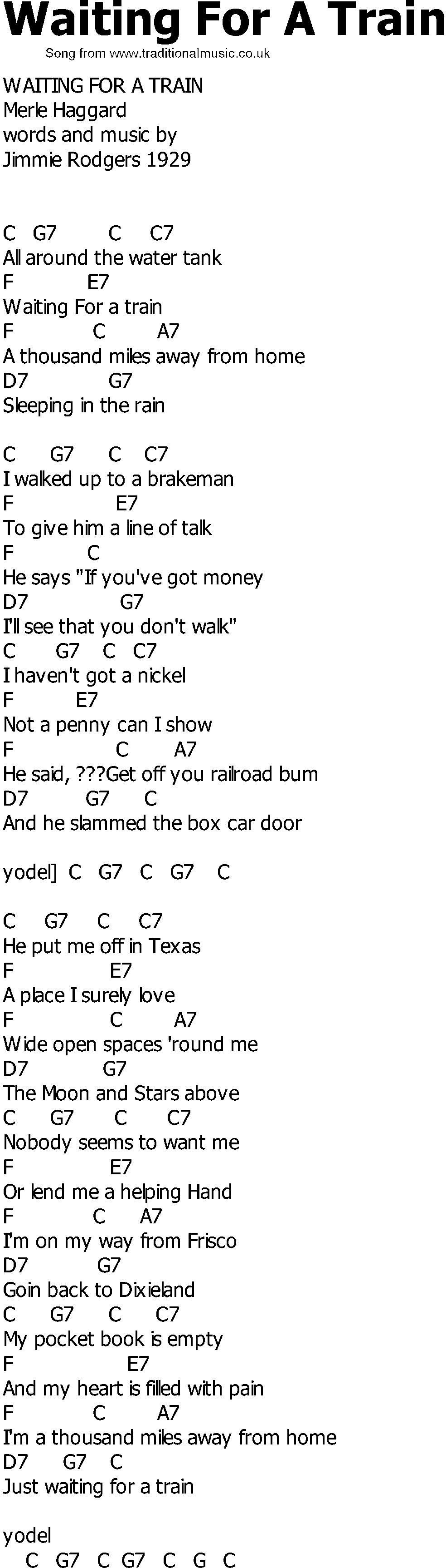 Old Country Song Lyrics With Chords Waiting For A Train