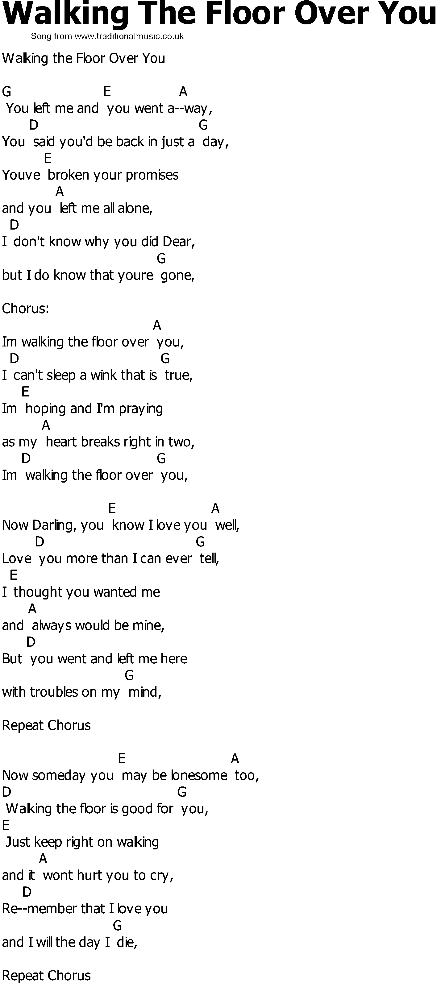 Old Country Song Lyrics With Chords   Walking The Floor Over You