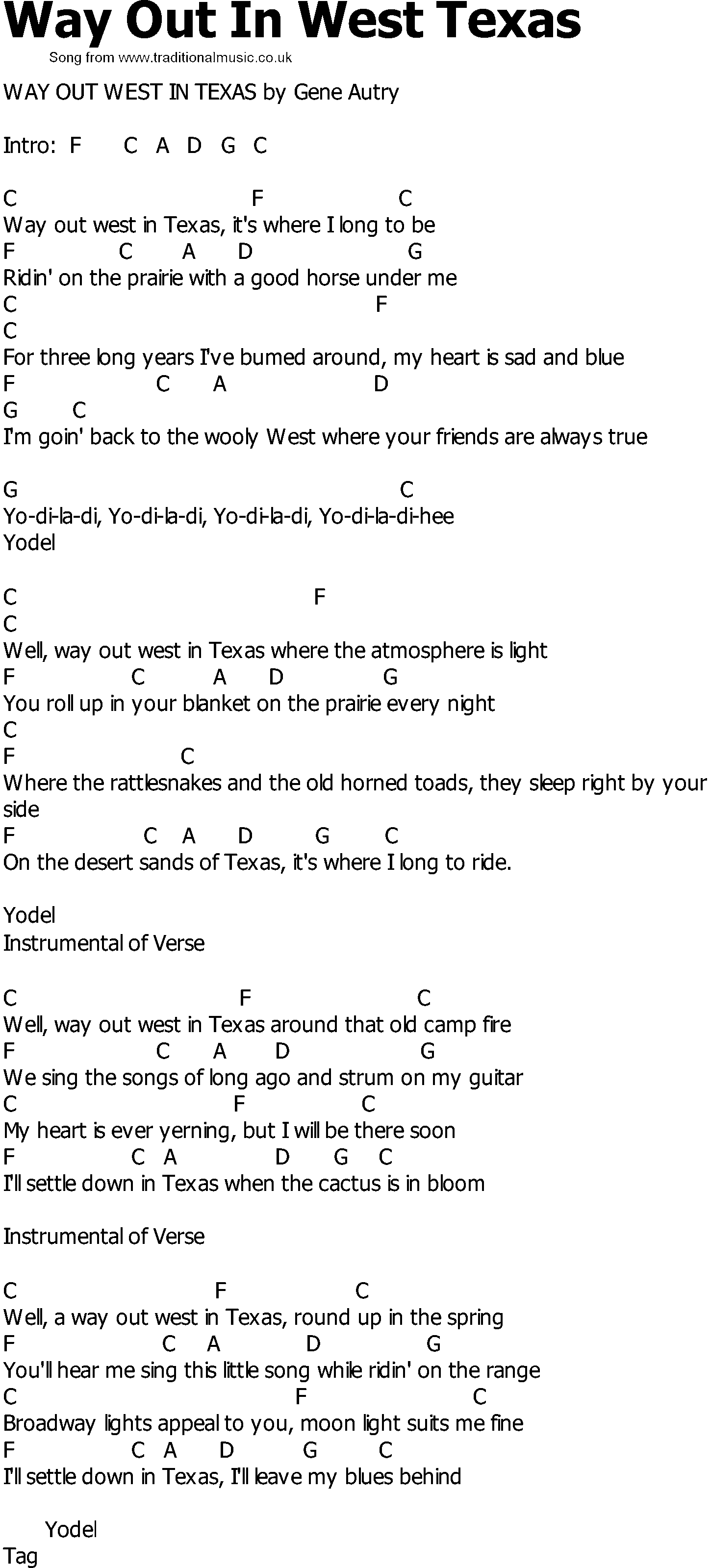 Old Country Song Lyrics With Chords Way Out In West Texas
