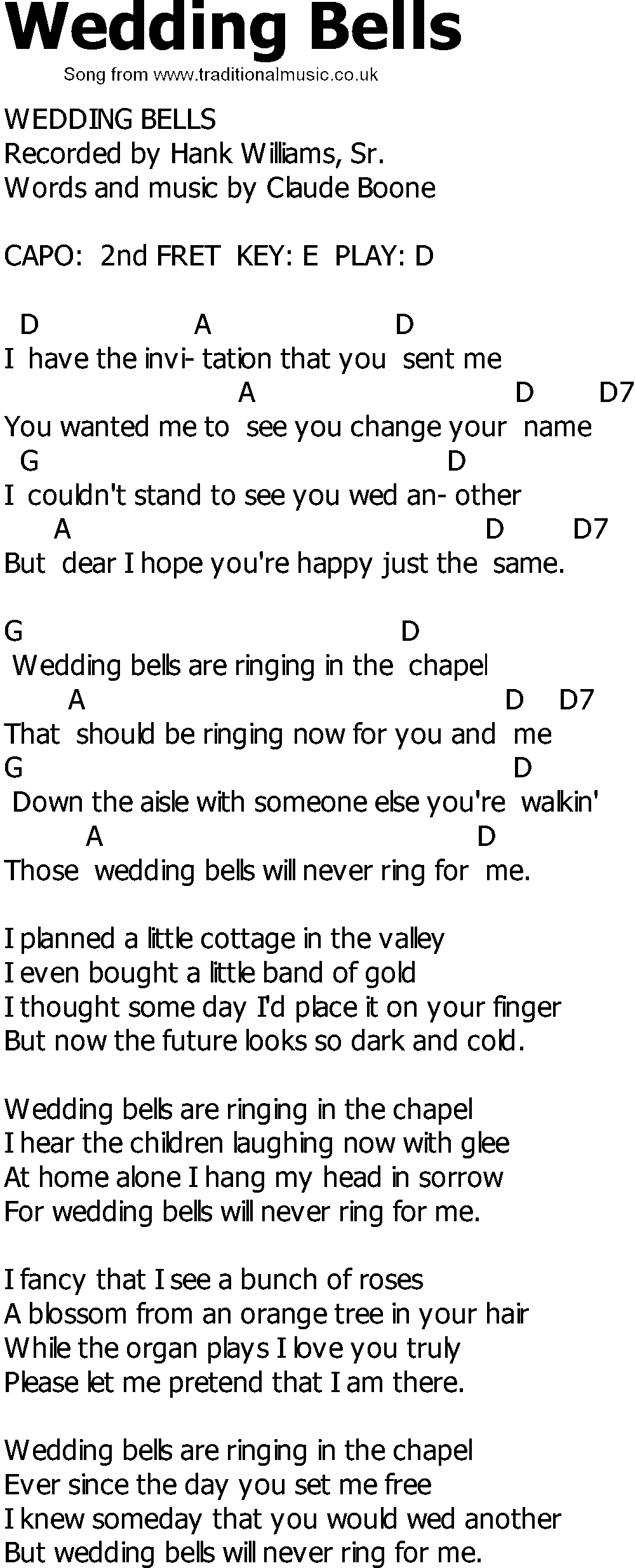 old country song lyrics with chords wedding bells