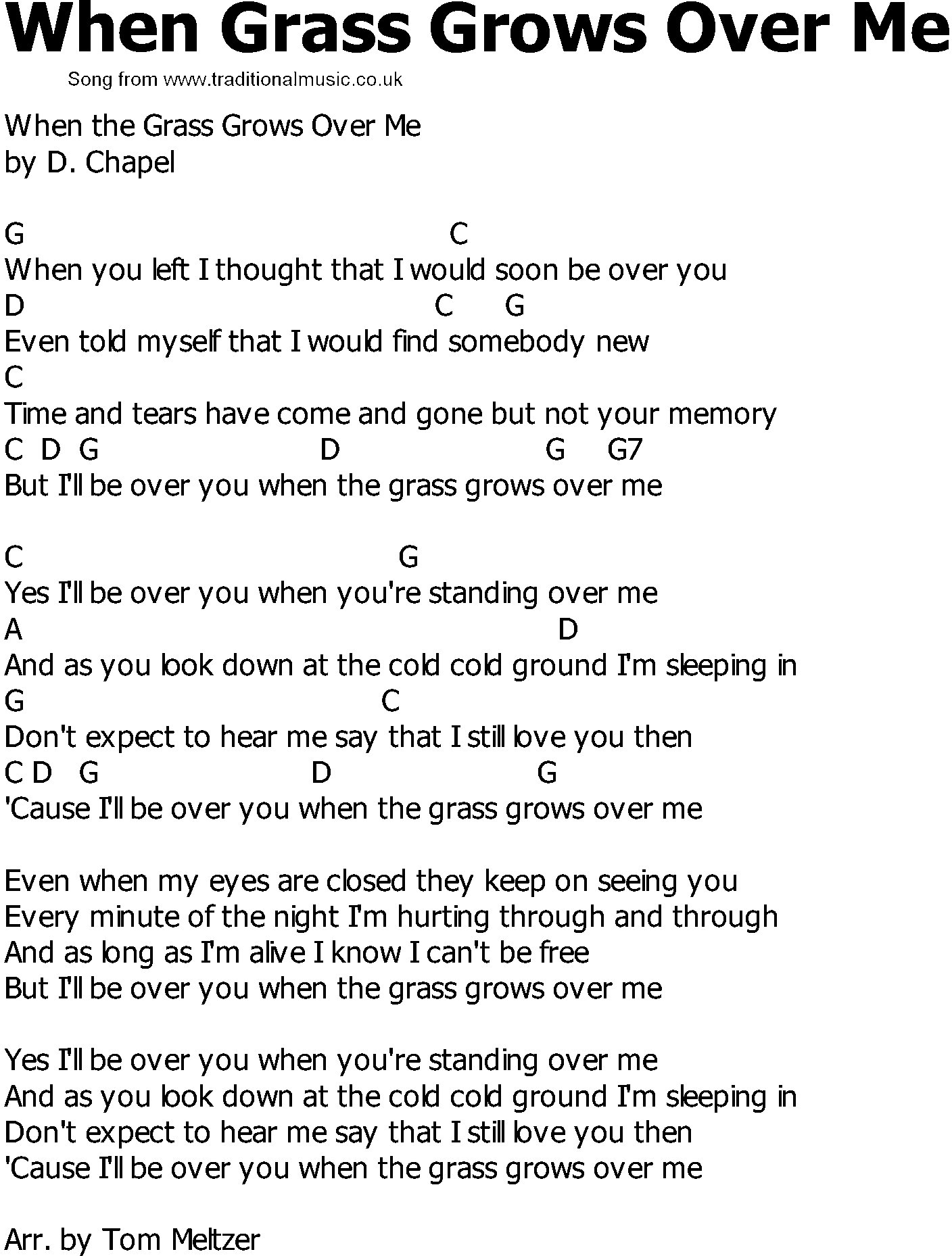 Old Country Song Lyrics With Chords When Grass Grows Over Me