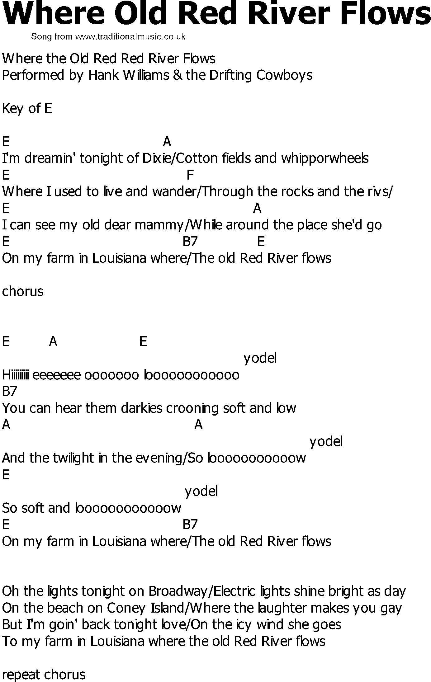 lyrics  to a country song