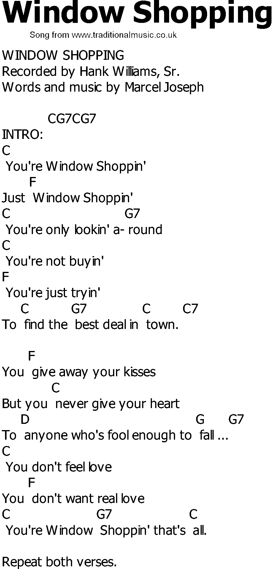 Old Country song lyrics with chords - Window Shopping