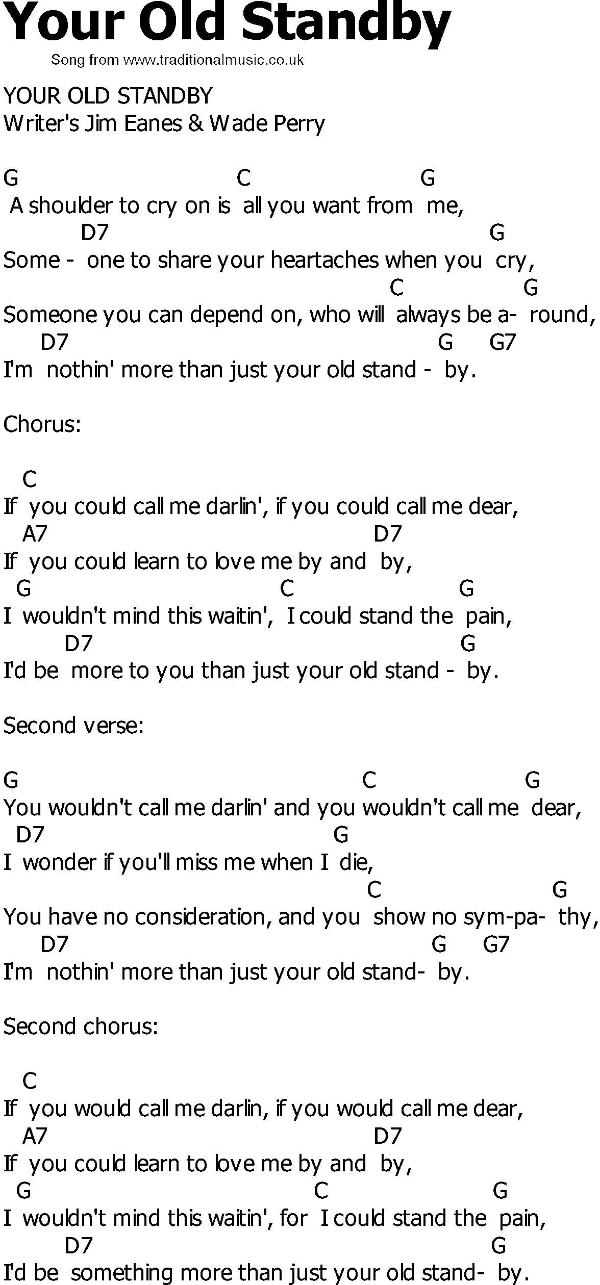 Old Country Song Lyrics With Chords Your Old Standby