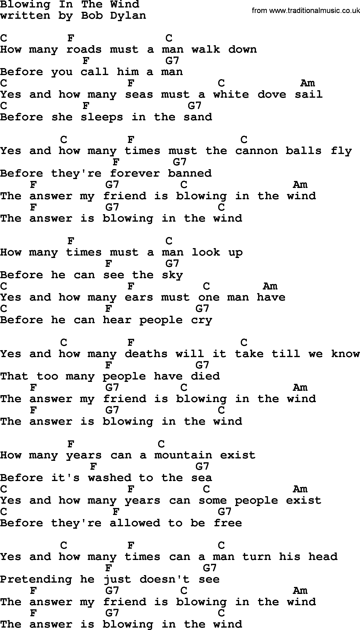 blowing in the wind chords lyrics