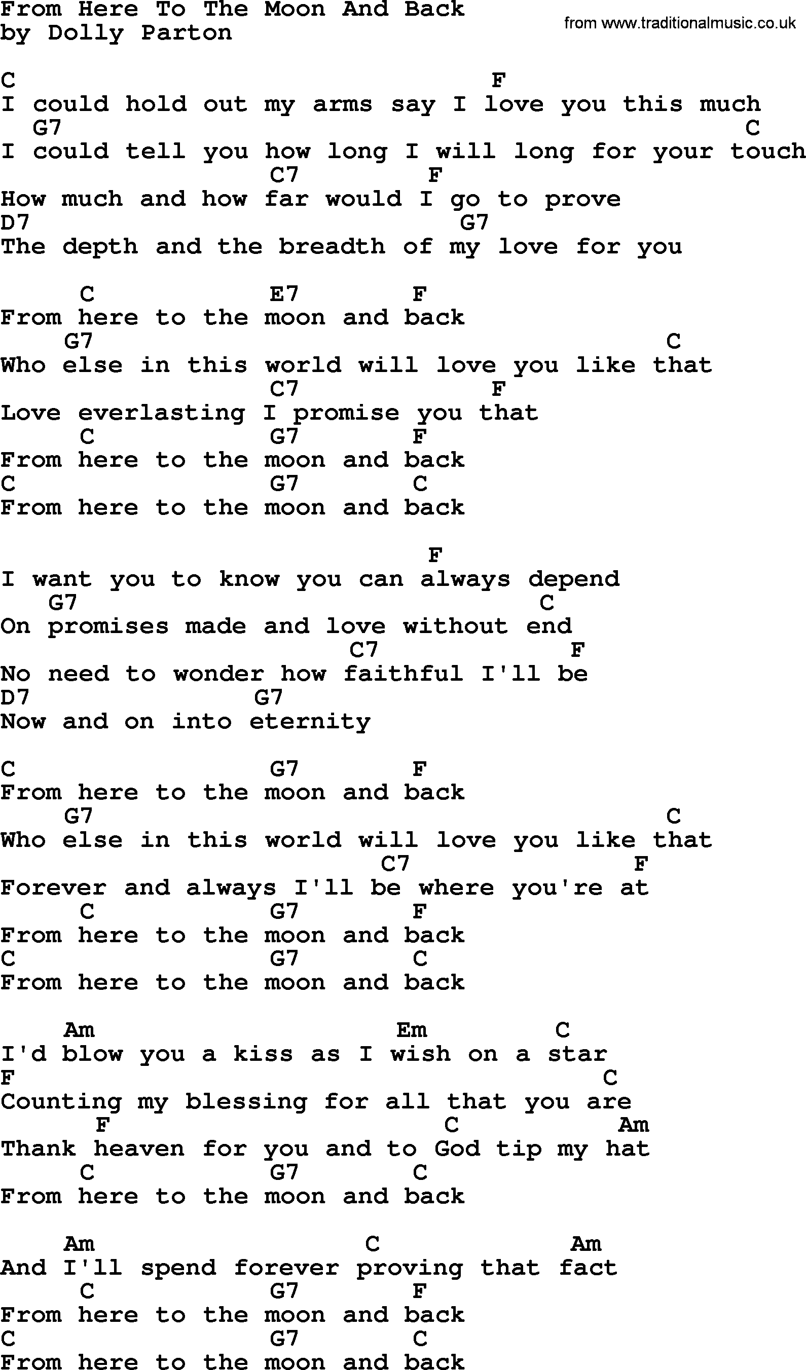 Dolly Parton Song From Here To The Moon And Back Lyrics And Chords