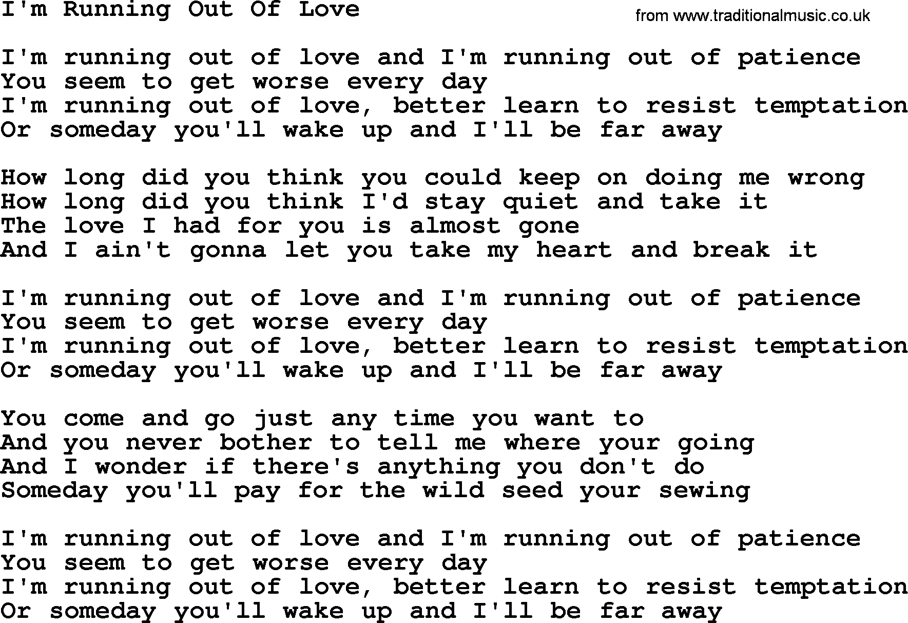 Dolly Parton Song Im Running Out Of Love Lyrics