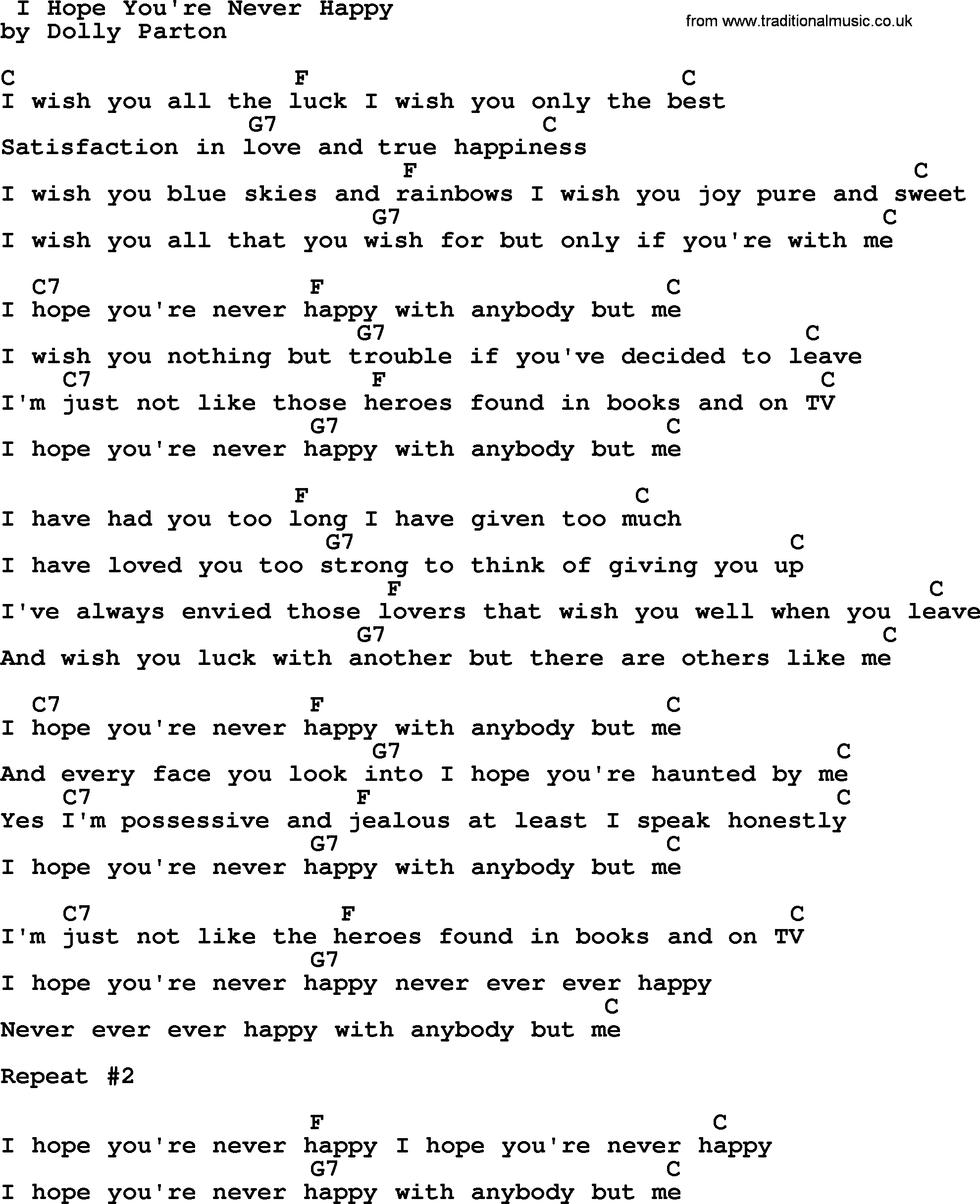 Dolly Parton song: I Hope You're Never Happy, lyrics and chords