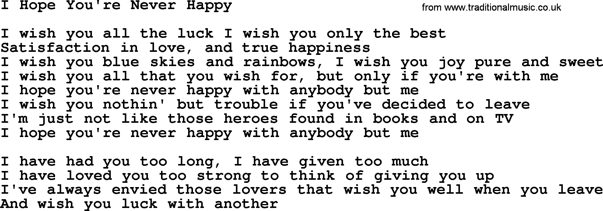 Dolly Parton song: I Hope You're Never Happy, lyrics