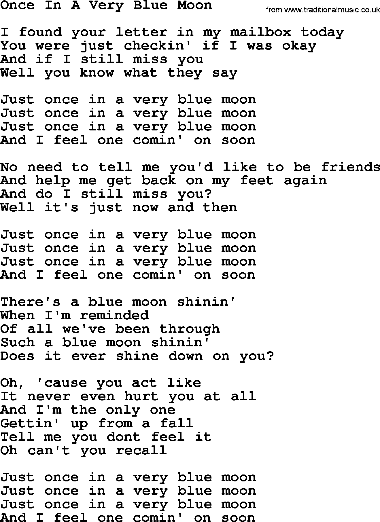 dolly parton song once in a very blue moon lyrics. Black Bedroom Furniture Sets. Home Design Ideas