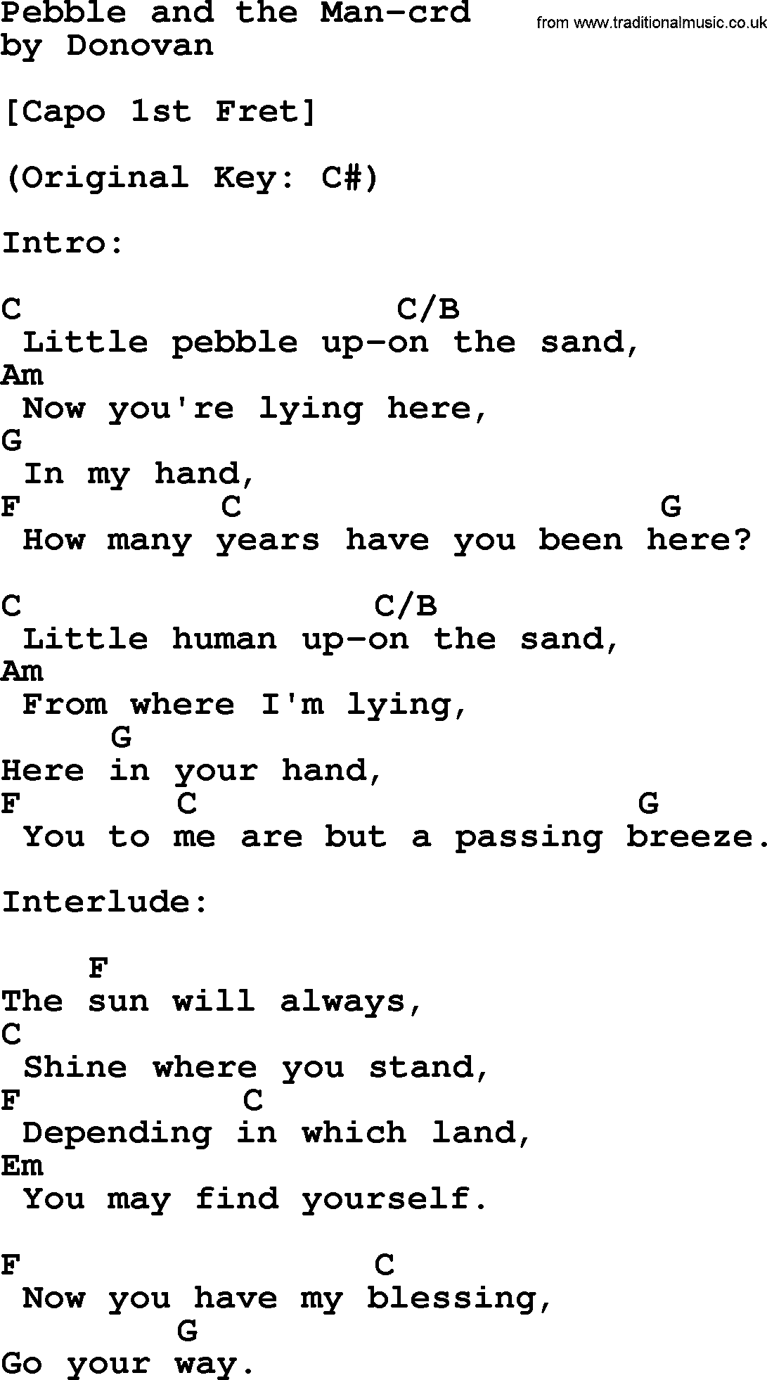 Donovan Leitch song   Pebble And The Man, lyrics and chords