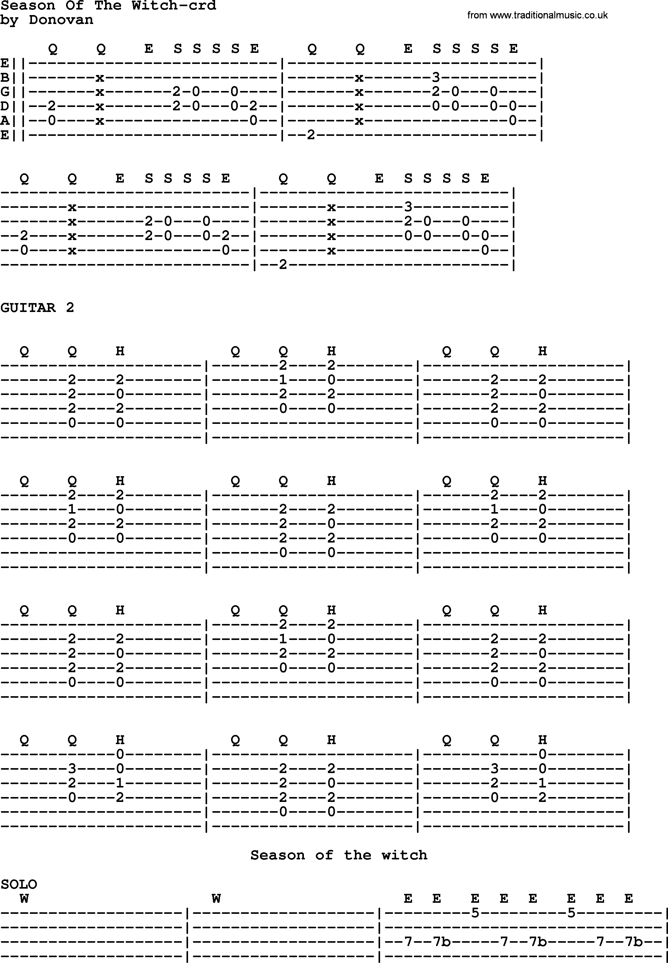 Season Of The Witch Guitar Chords Choice Image Basic Guitar Chords