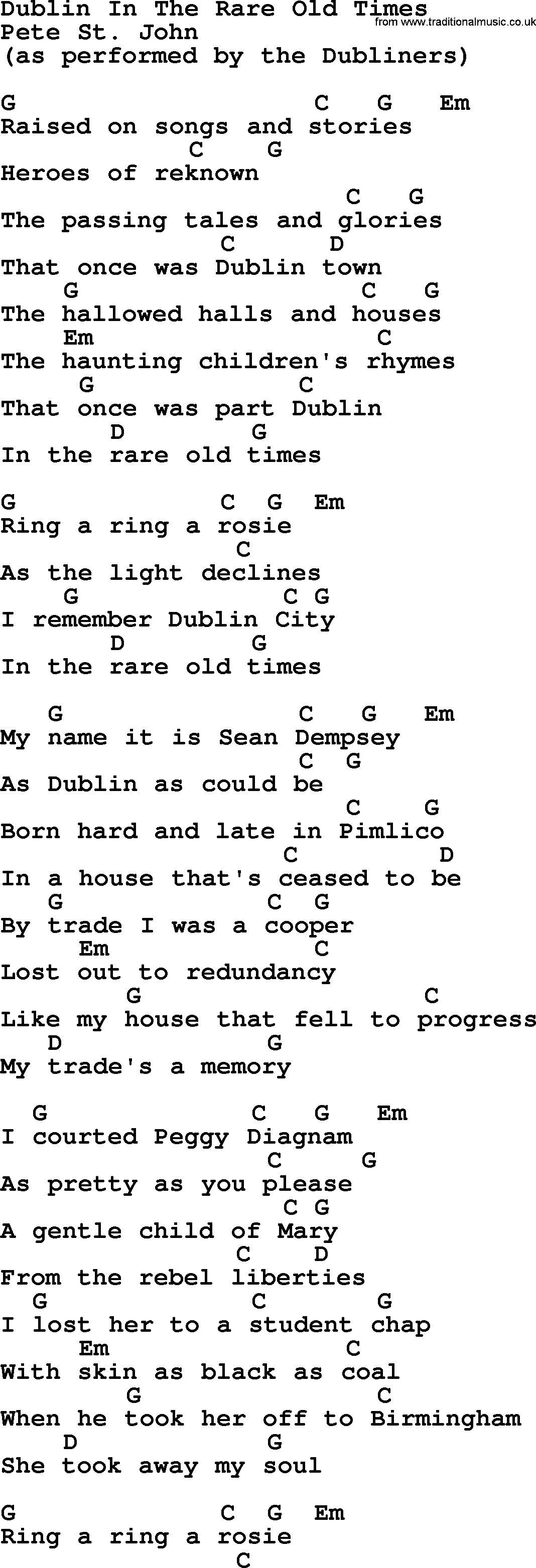 Dublin in the rare old times by the dubliners song lyrics and chords the dubliners song dublin in the rare old times lyrics and chords hexwebz Gallery