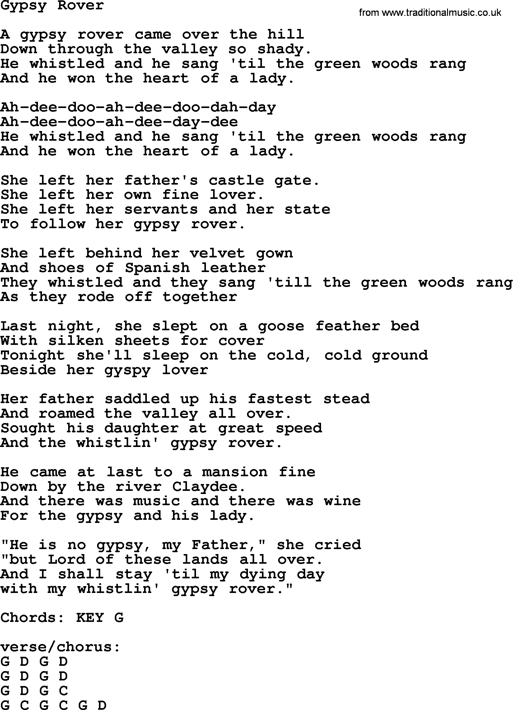 Gypsy Rover by The Dubliners - song lyrics and chords