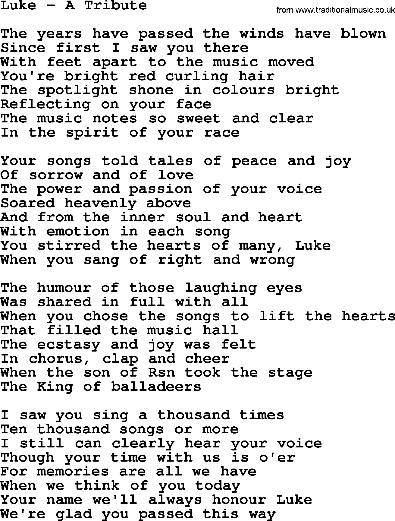 Luke a tribute by the dubliners song lyrics and chords the dubliners song luke a tribute lyrics hexwebz Image collections