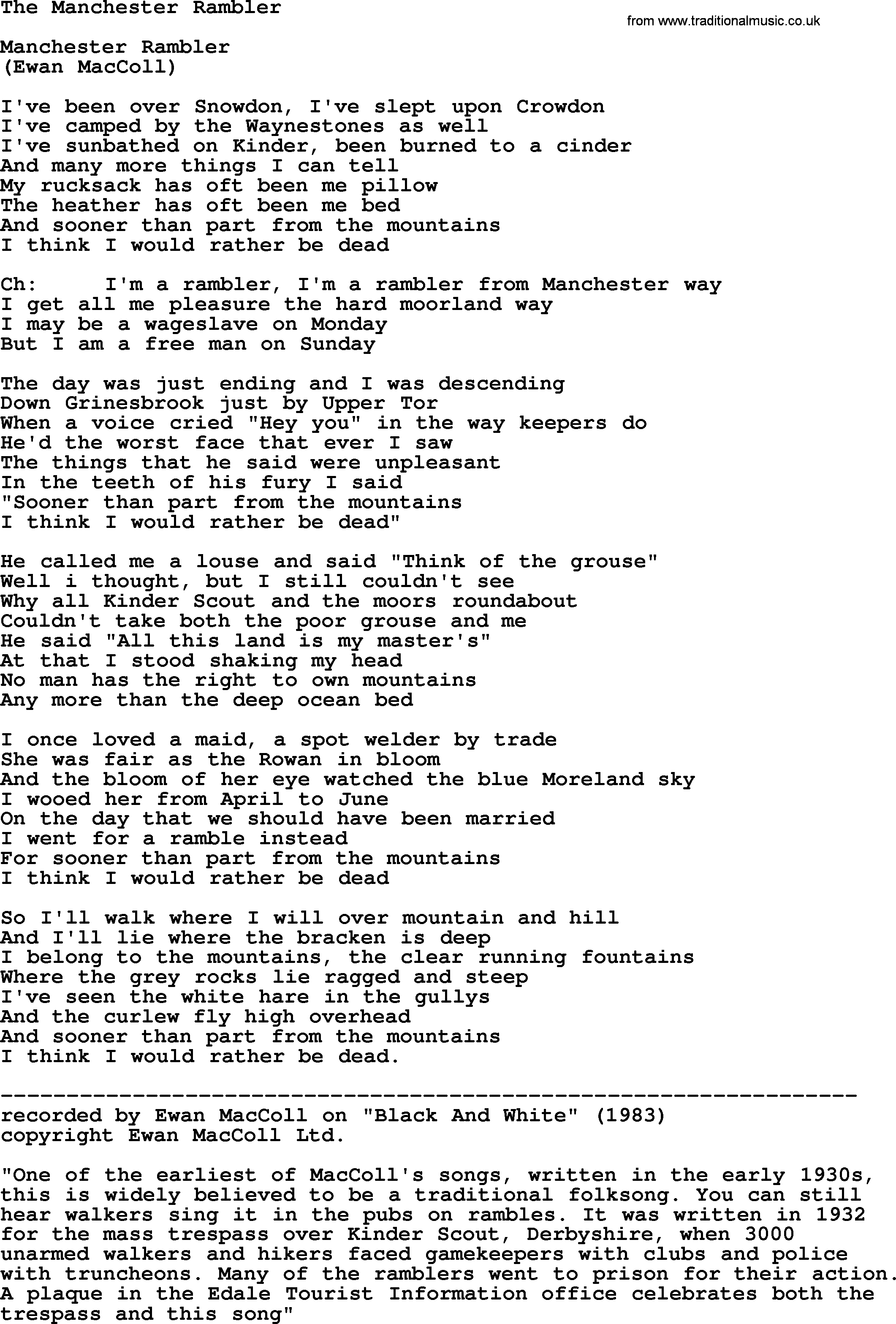 The Manchester Rambler by The Dubliners - song lyrics and chords