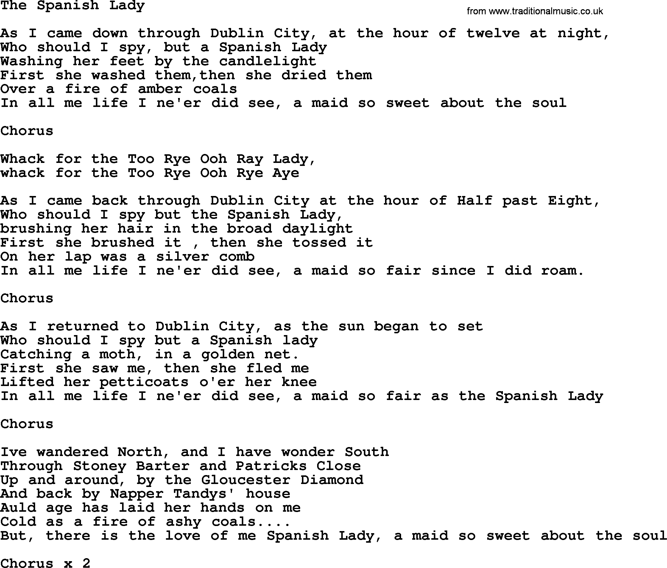 The Spanish Lady by The Dubliners - song lyrics and chords