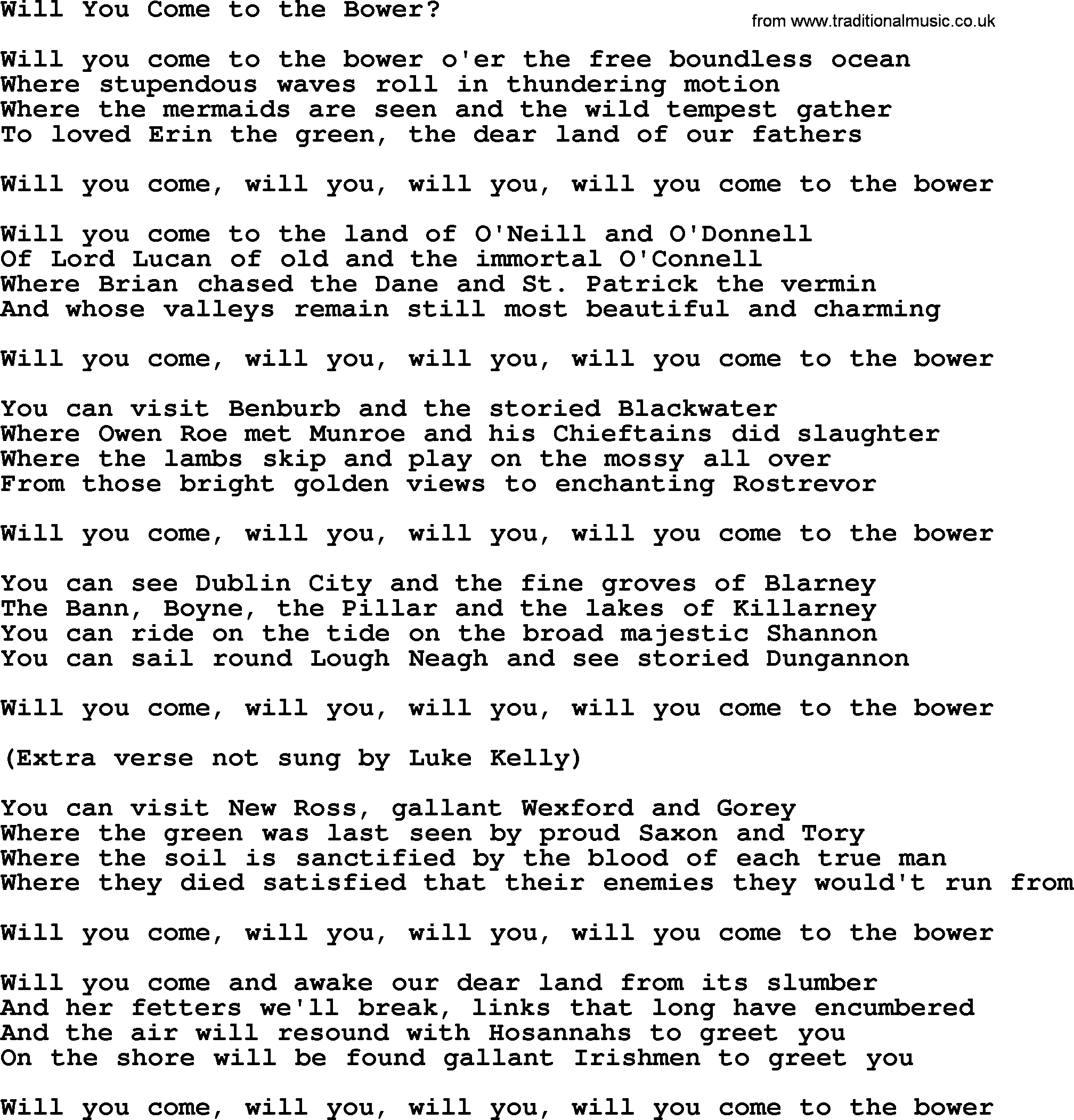 Will You Come To The Bower By The Dubliners Song Lyrics And Chords If you have a particular. traditional music library