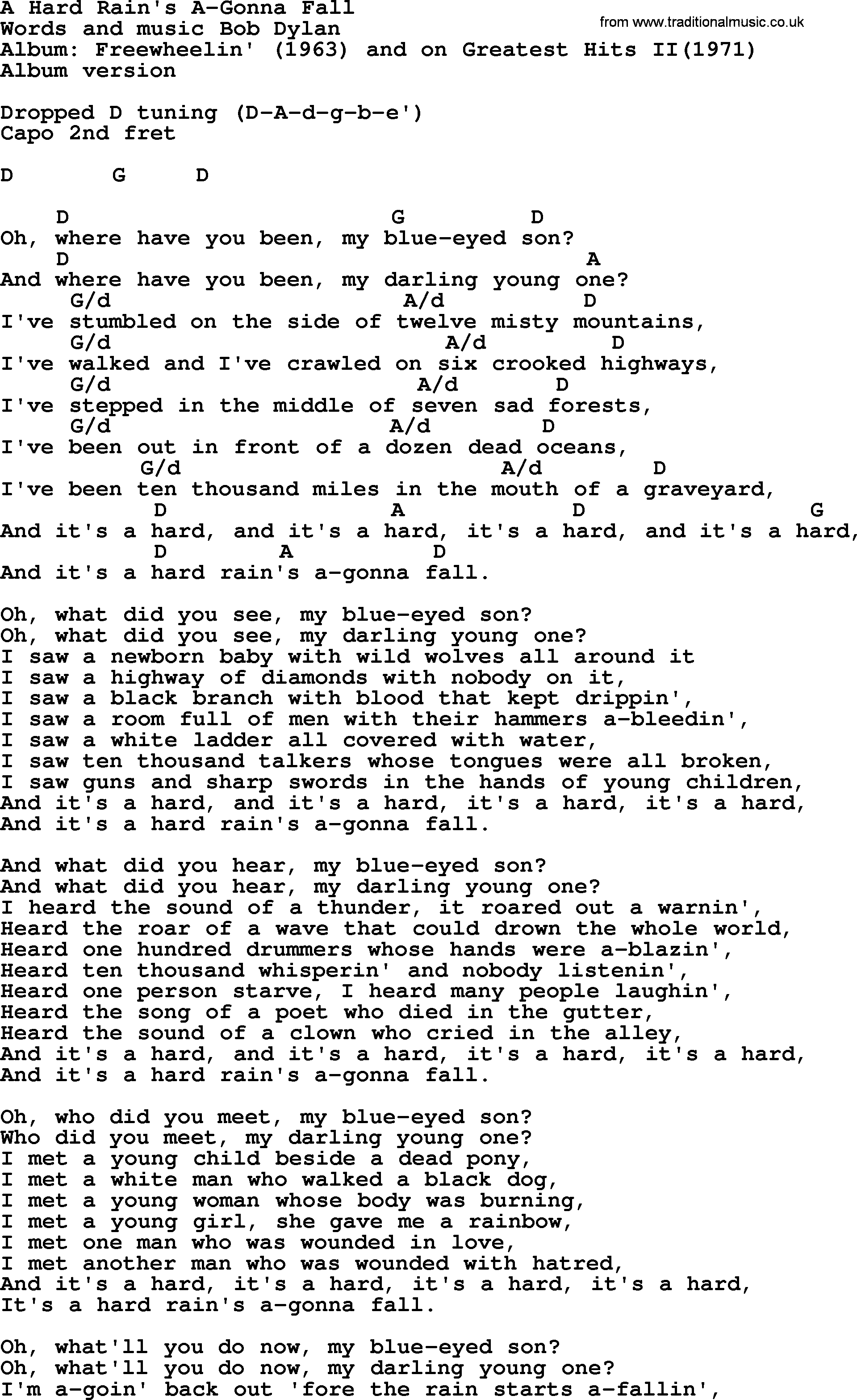 Bob dylan song a hard rains a gonna fall lyrics and chords bob dylan song lyrics with chords a hard rains a gonna fall hexwebz Choice Image