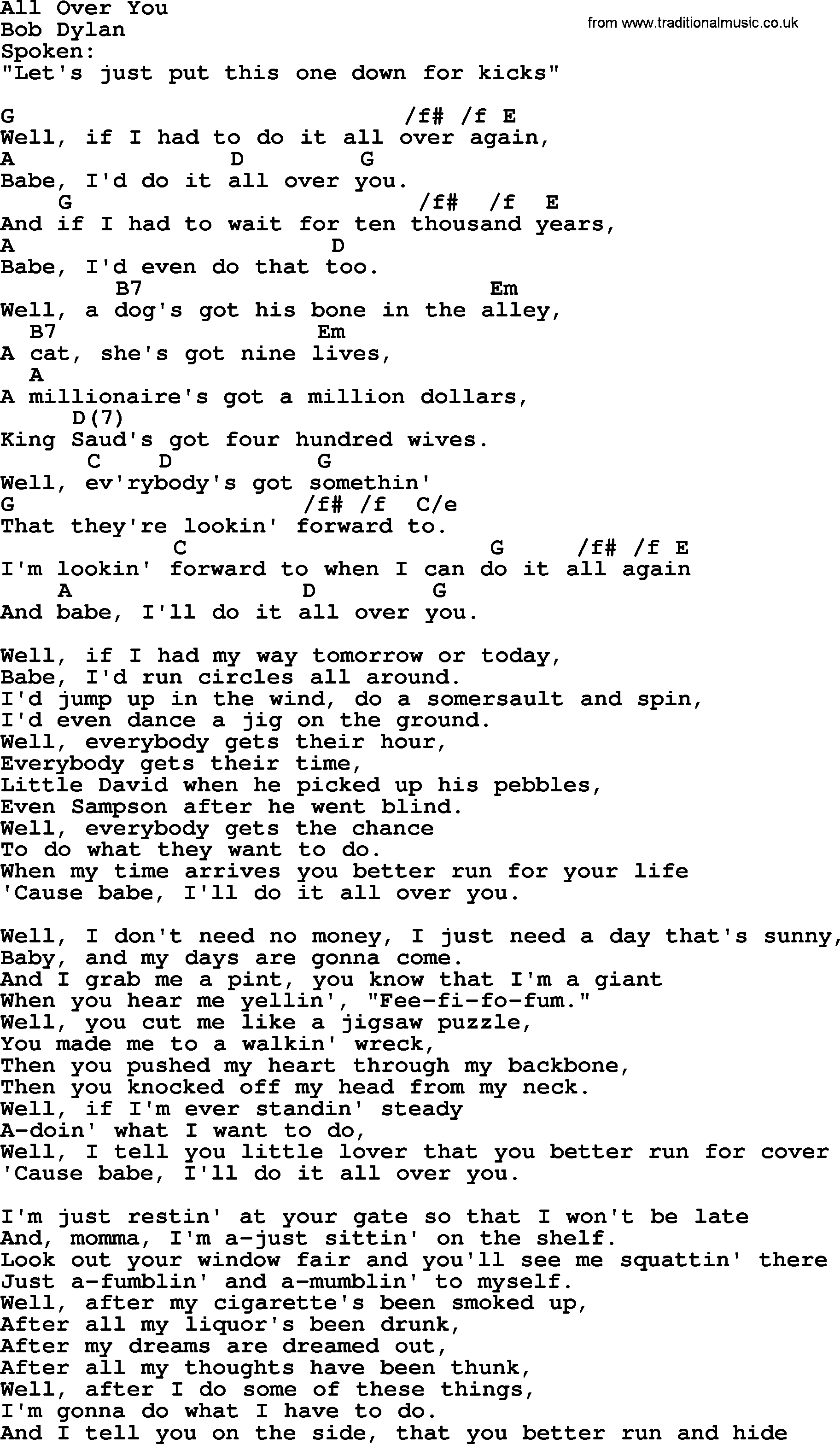 Bob Dylan song   All Over You, lyrics and chords