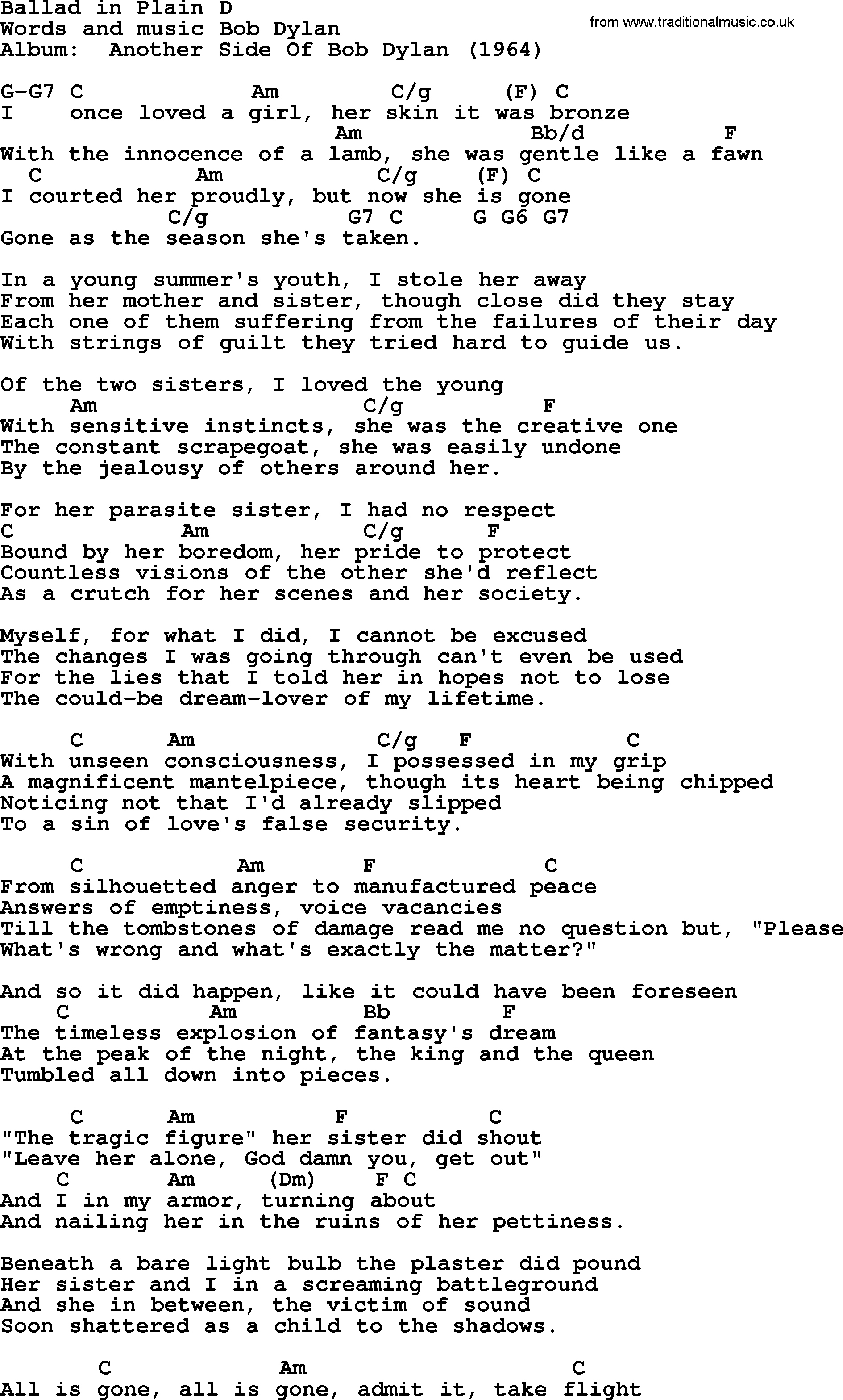 Bob Dylan Song Ballad In Plain D Lyrics And Chords