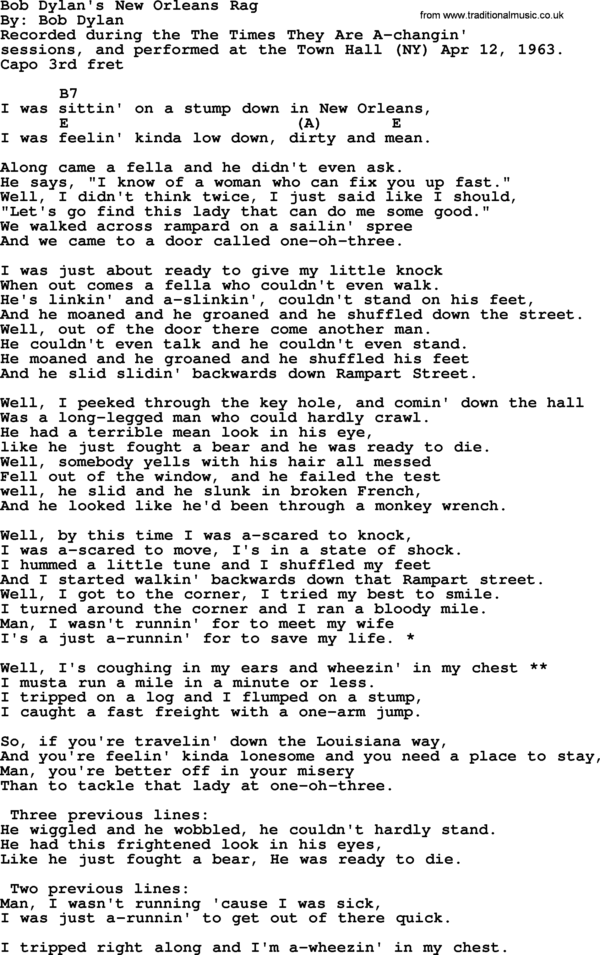 Bob Dylan song - Bob Dylan's New Orleans Rag, lyrics and chords