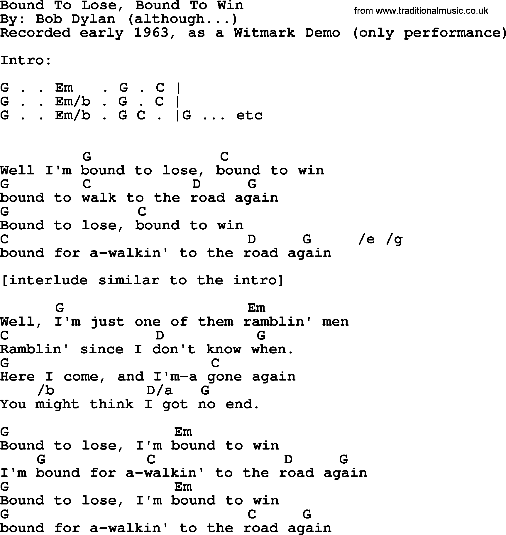 Bob Dylan Song Bound To Lose Bound To Win Lyrics And Chords