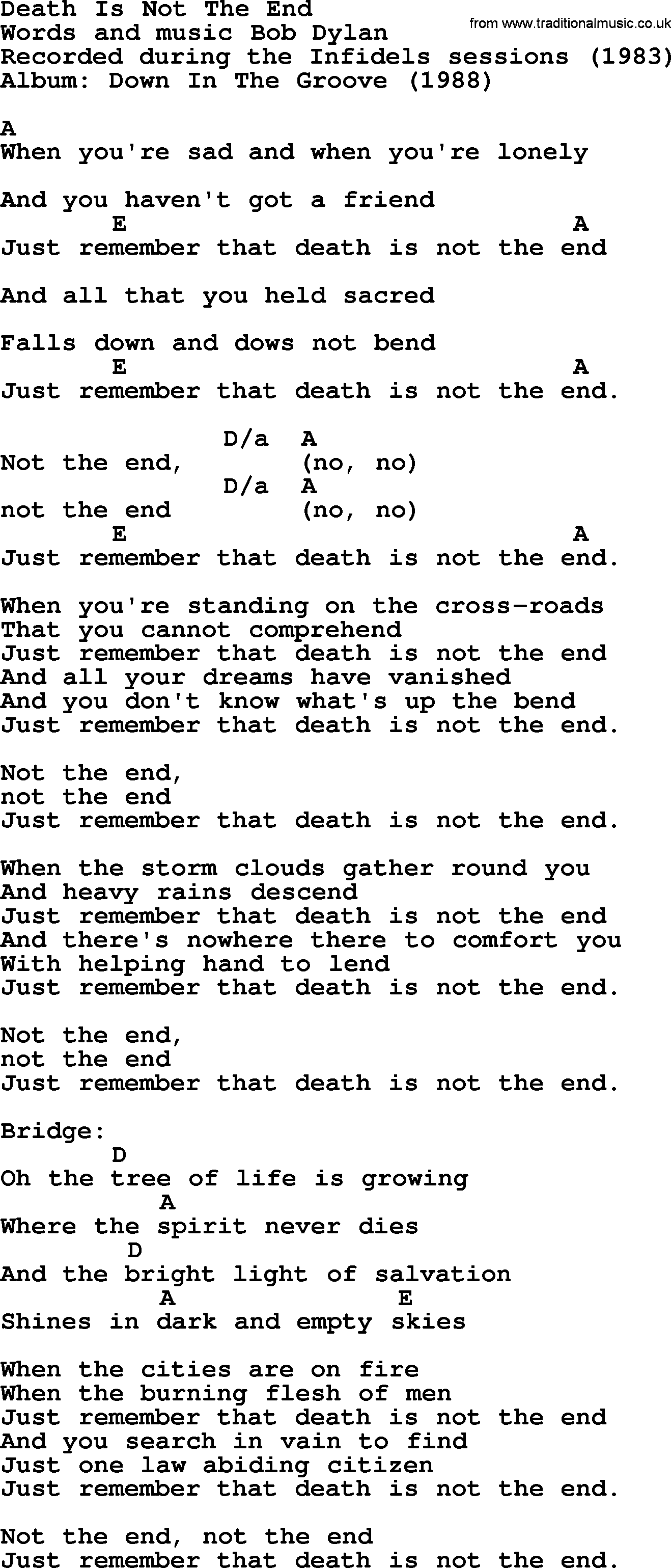 Bob Dylan song - Death Is Not The End, lyrics and chords