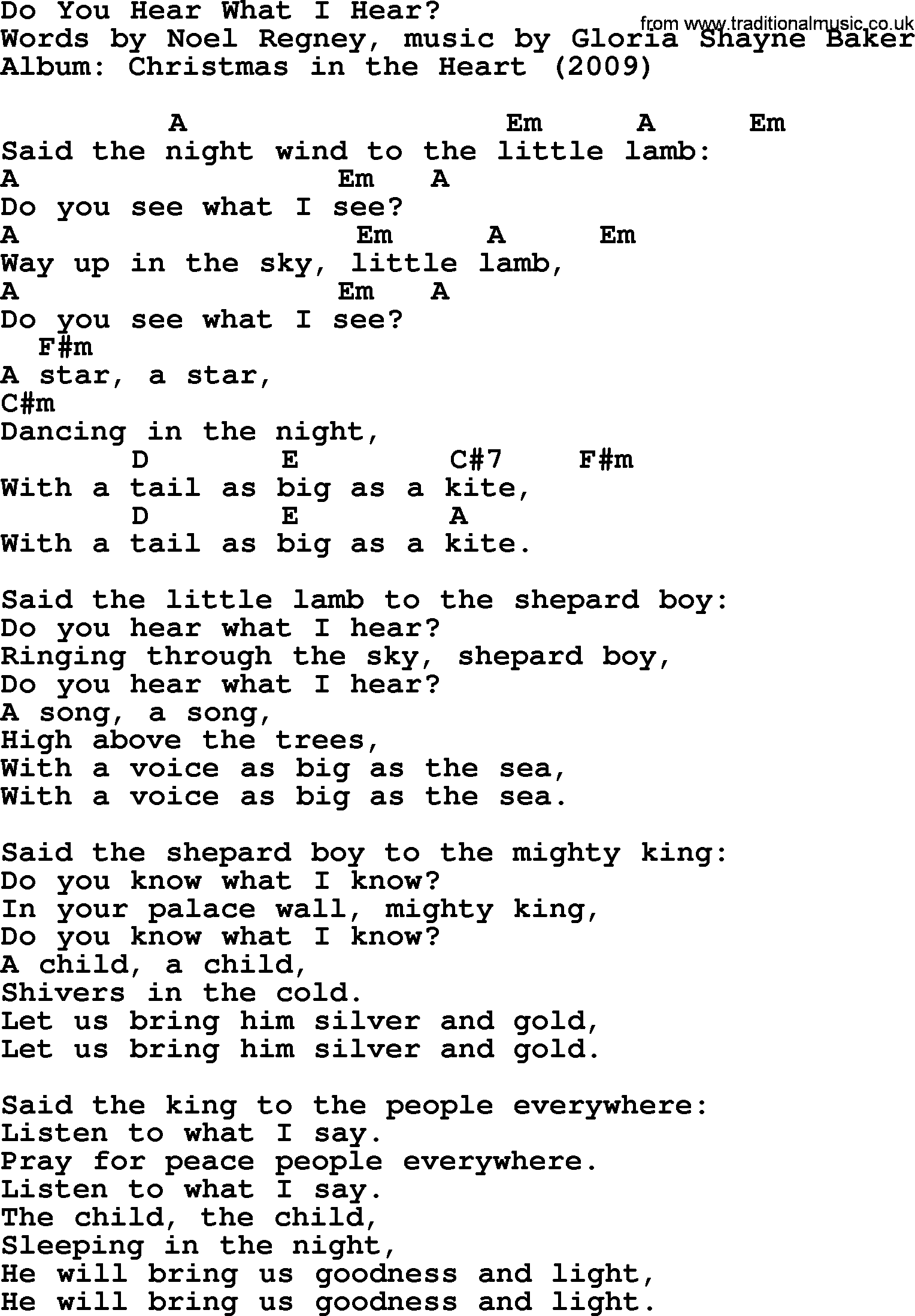 bob dylan song lyrics with chords do you hear what i hear