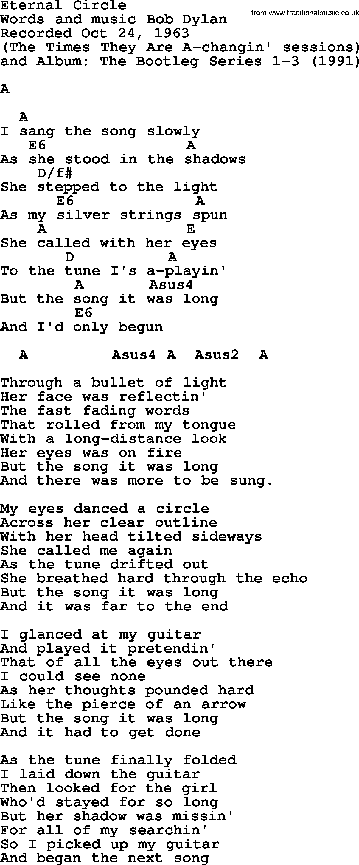 Bob Dylan Song Eternal Circle Lyrics And Chords
