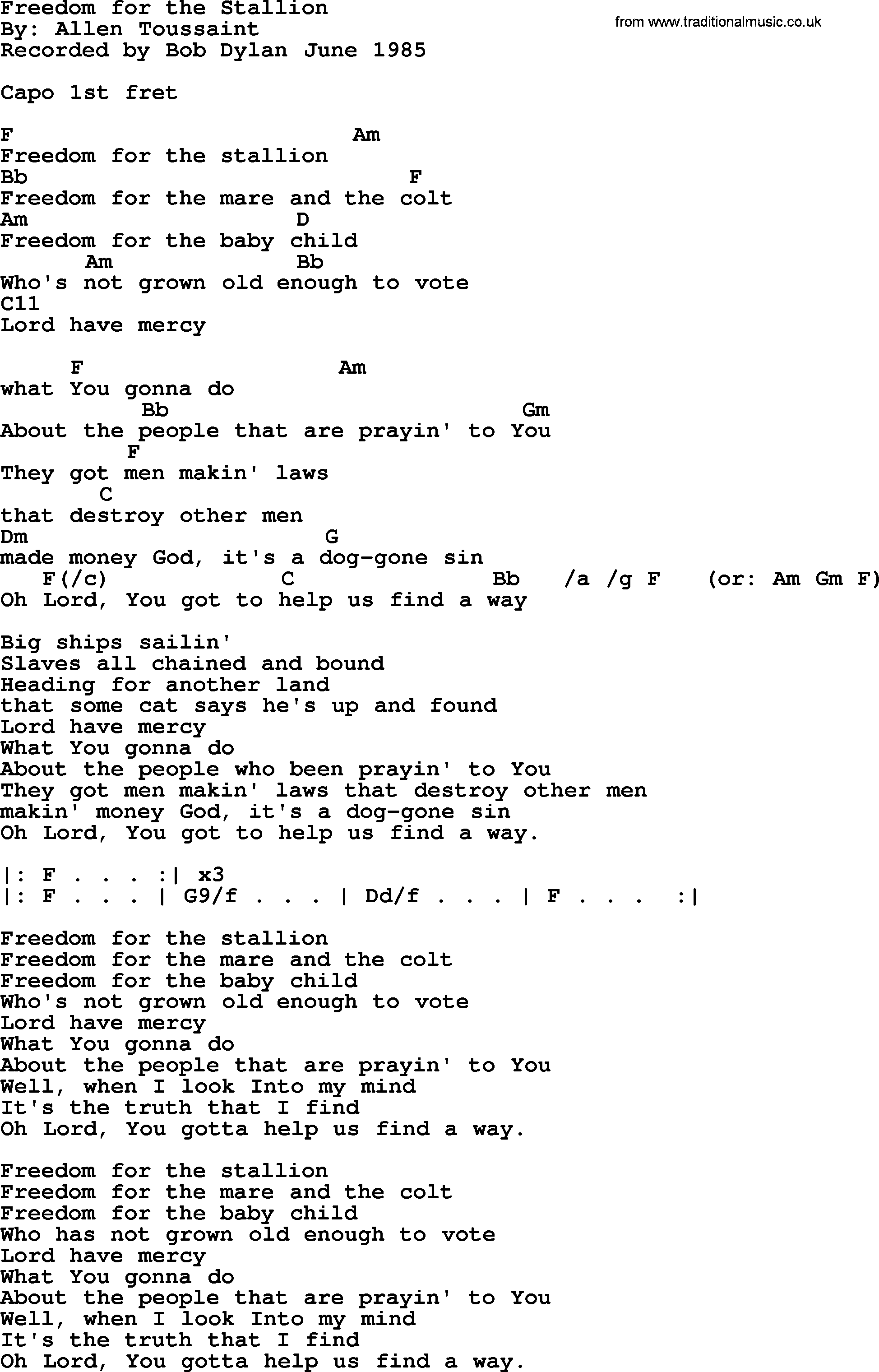 Bob Dylan song - Freedom for the Stallion, lyrics and chords