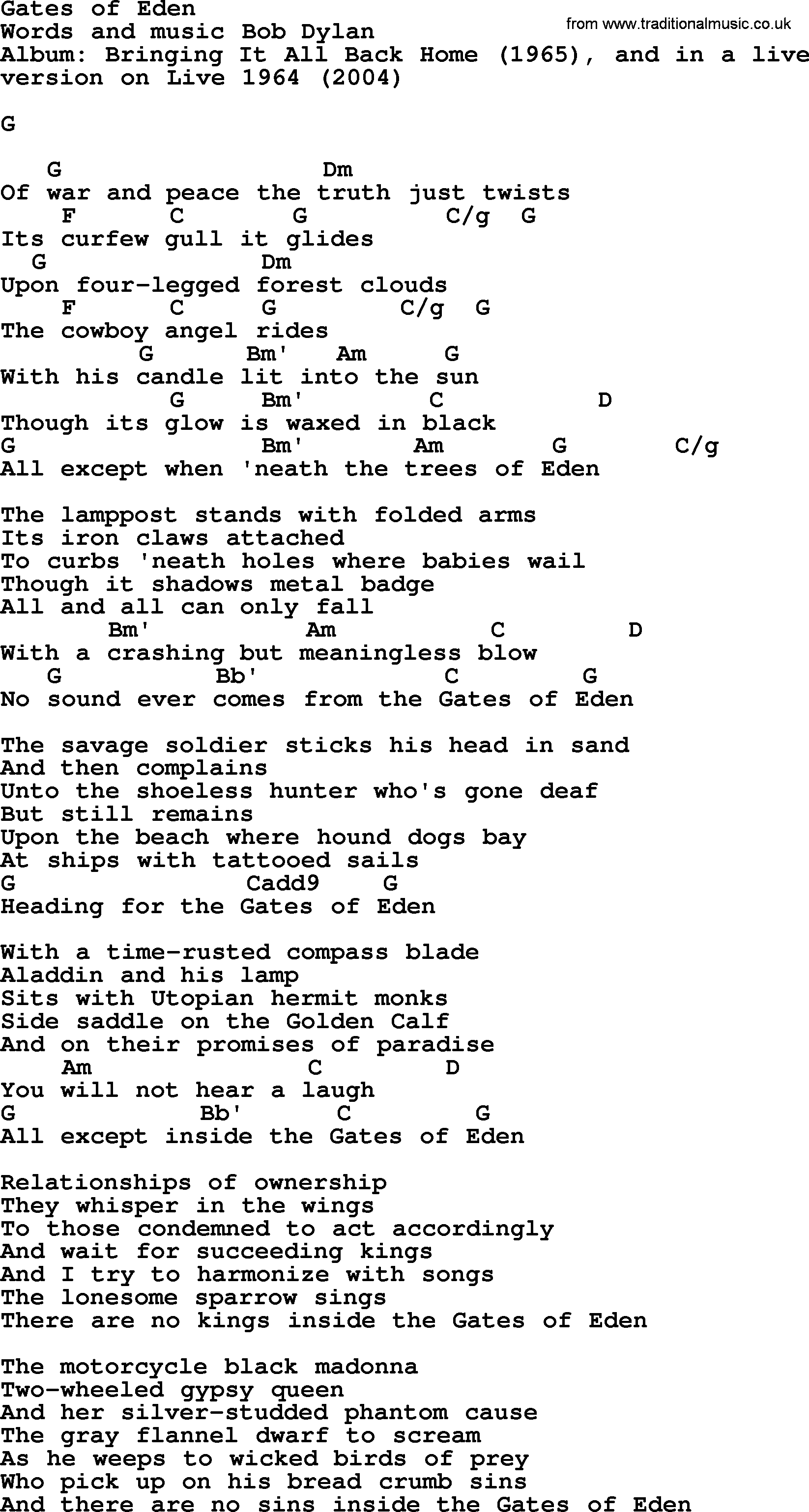 Bob Dylan Song Gates Of Eden Lyrics And Chords
