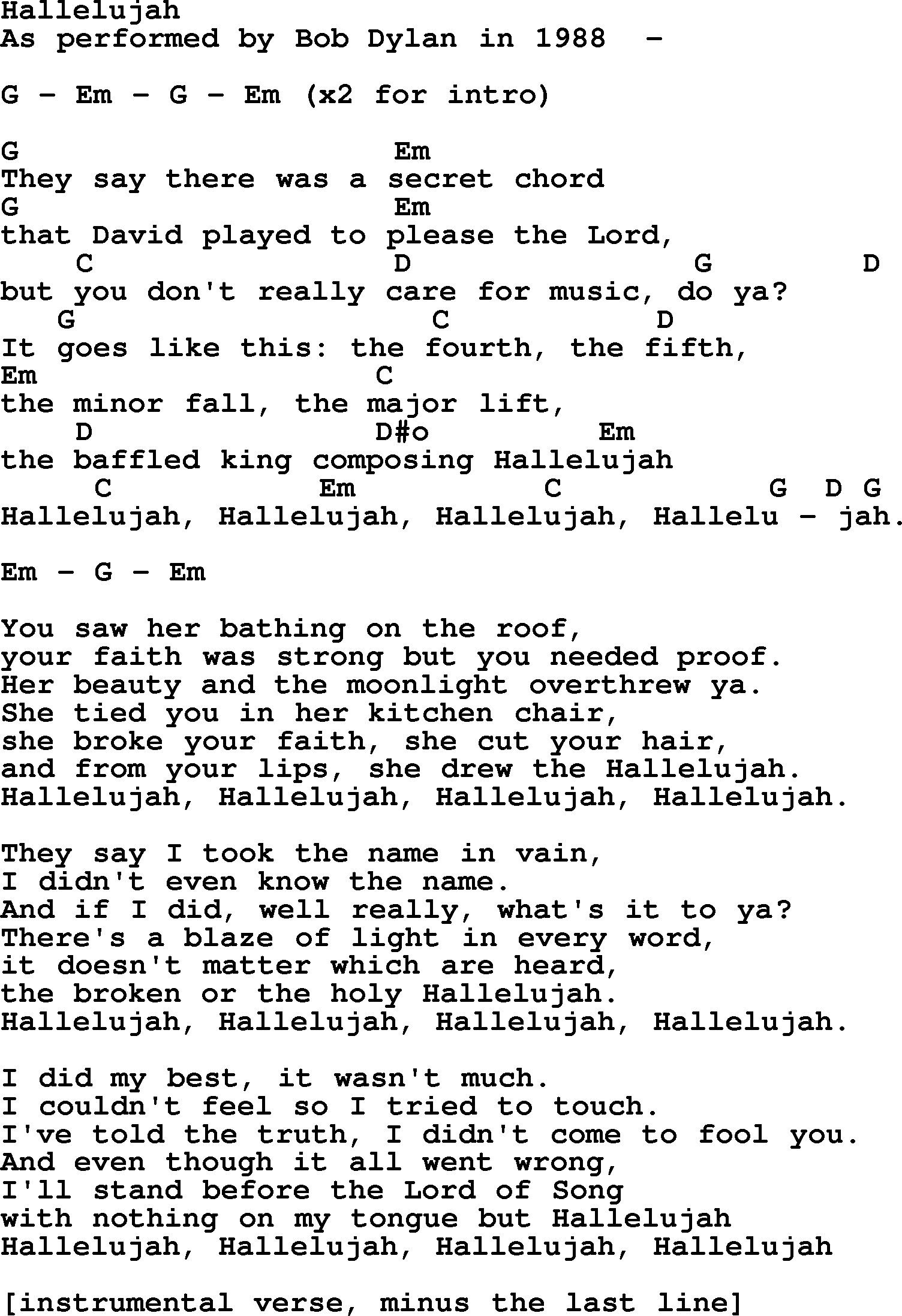 Bob dylan song hallelujah lyrics and chords bob dylan song lyrics with chords hallelujah hexwebz Images