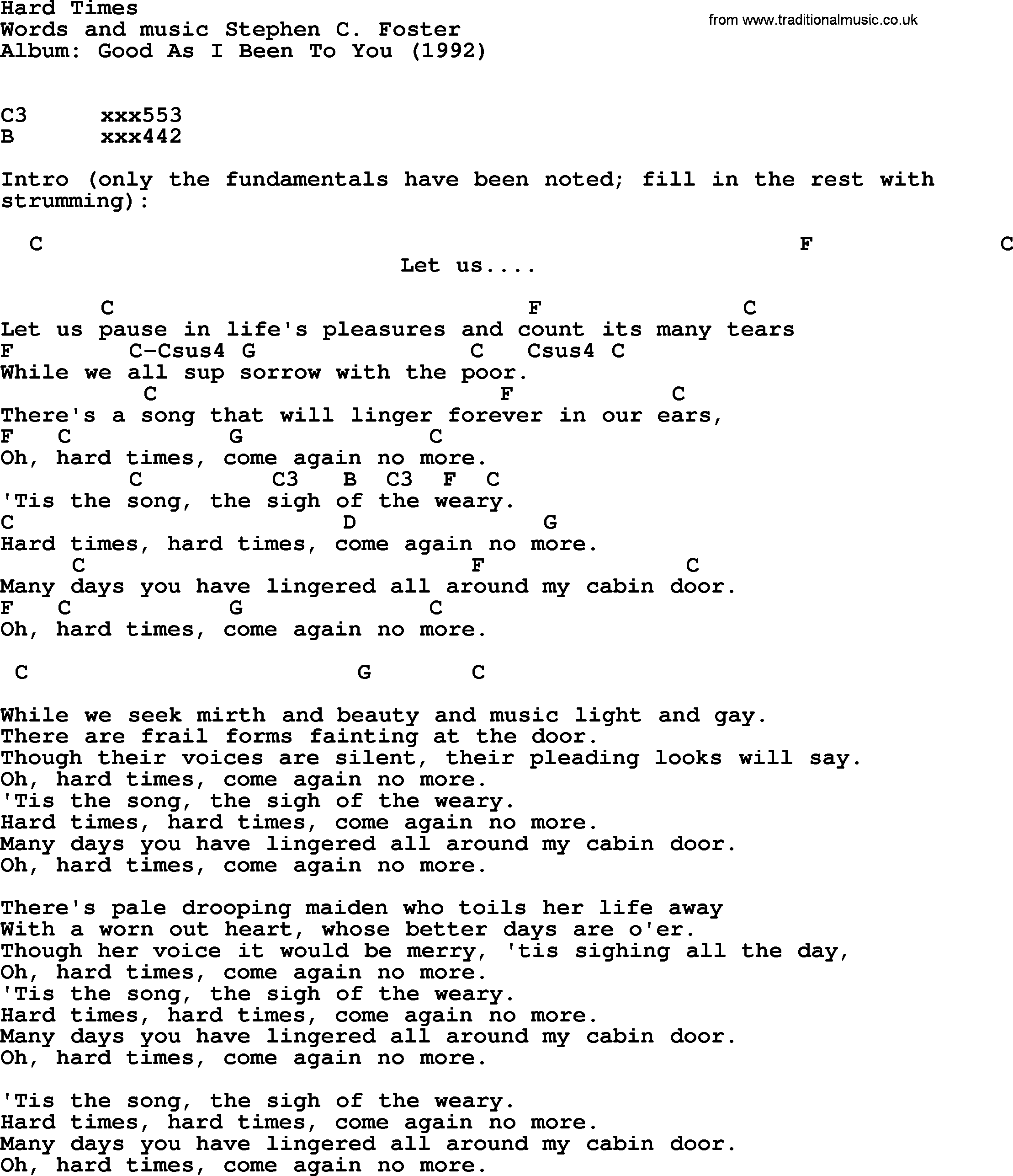 Bob Dylan Song Hard Times Lyrics And Chords