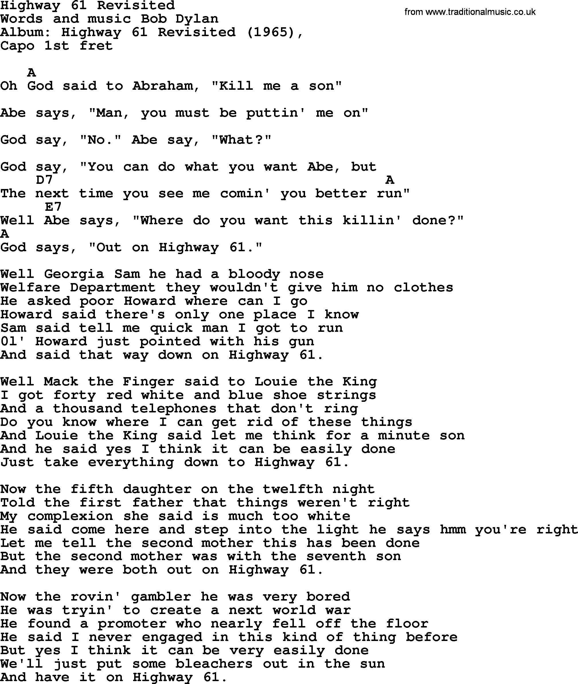 Bob Dylan Song Highway 61 Revisited Lyrics And Chords