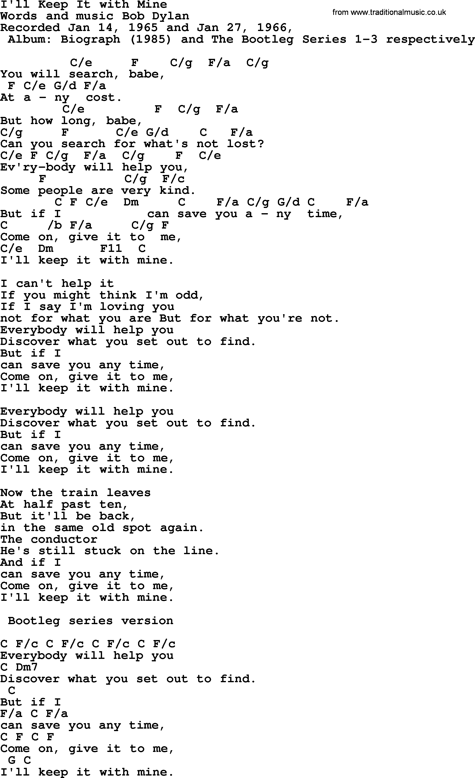 Bob Dylan Song Ill Keep It With Mine Lyrics And Chords